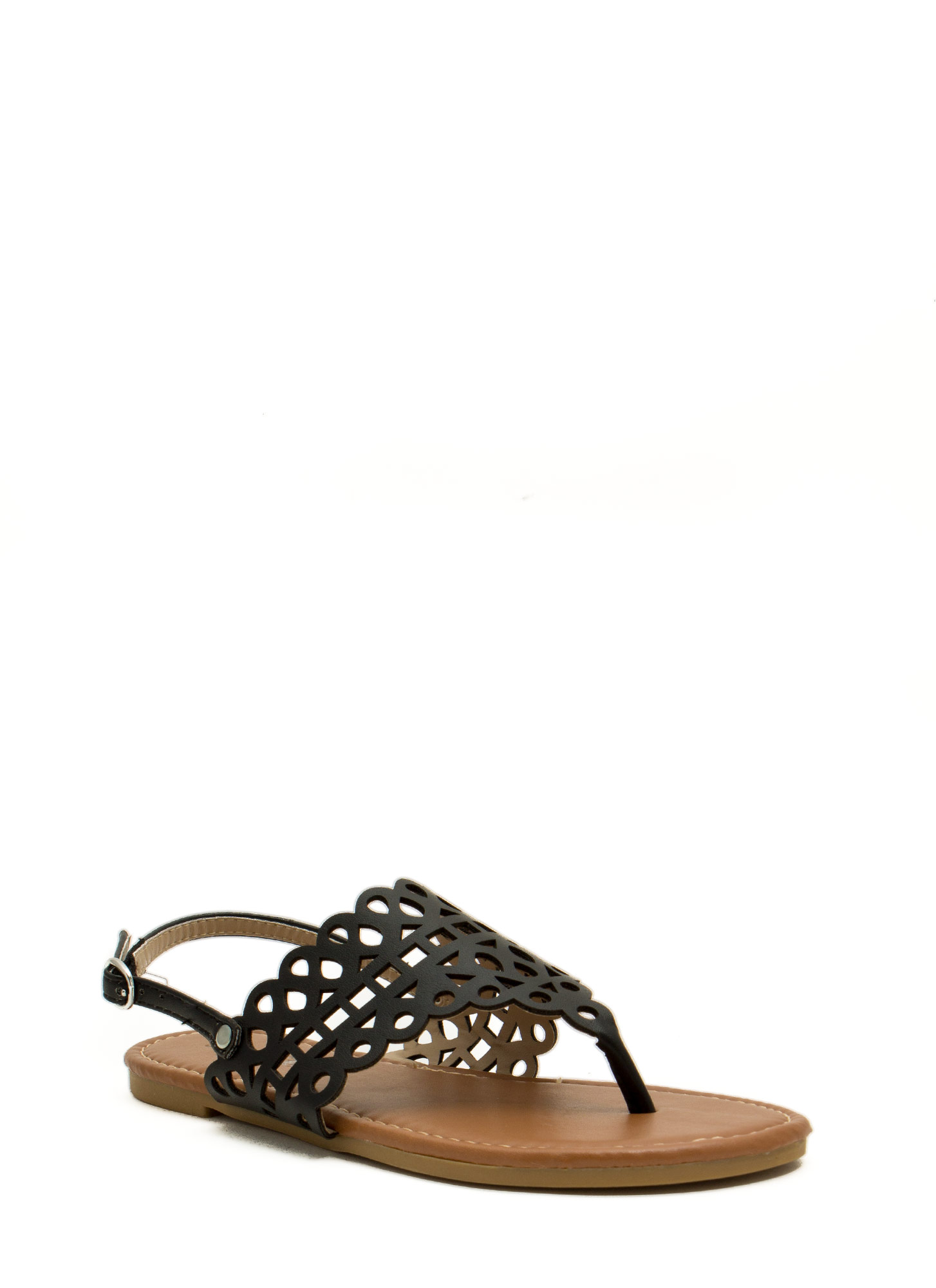Made The Cut-Out Thong Sandals BLACK
