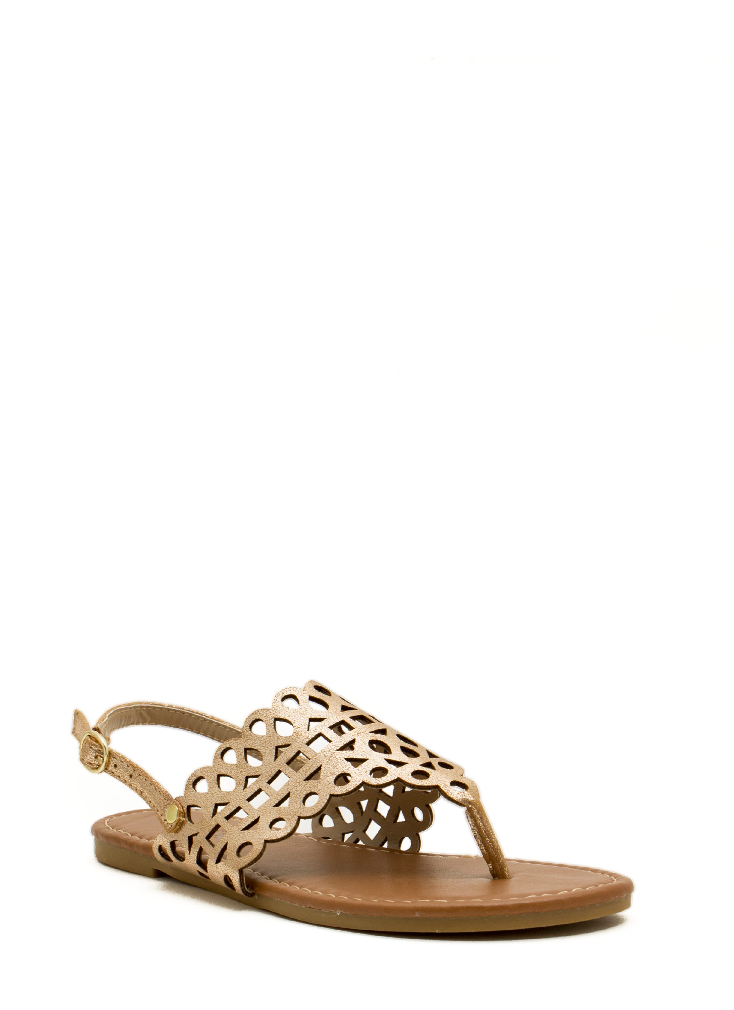 Made The Cut-Out Thong Sandals GOLD