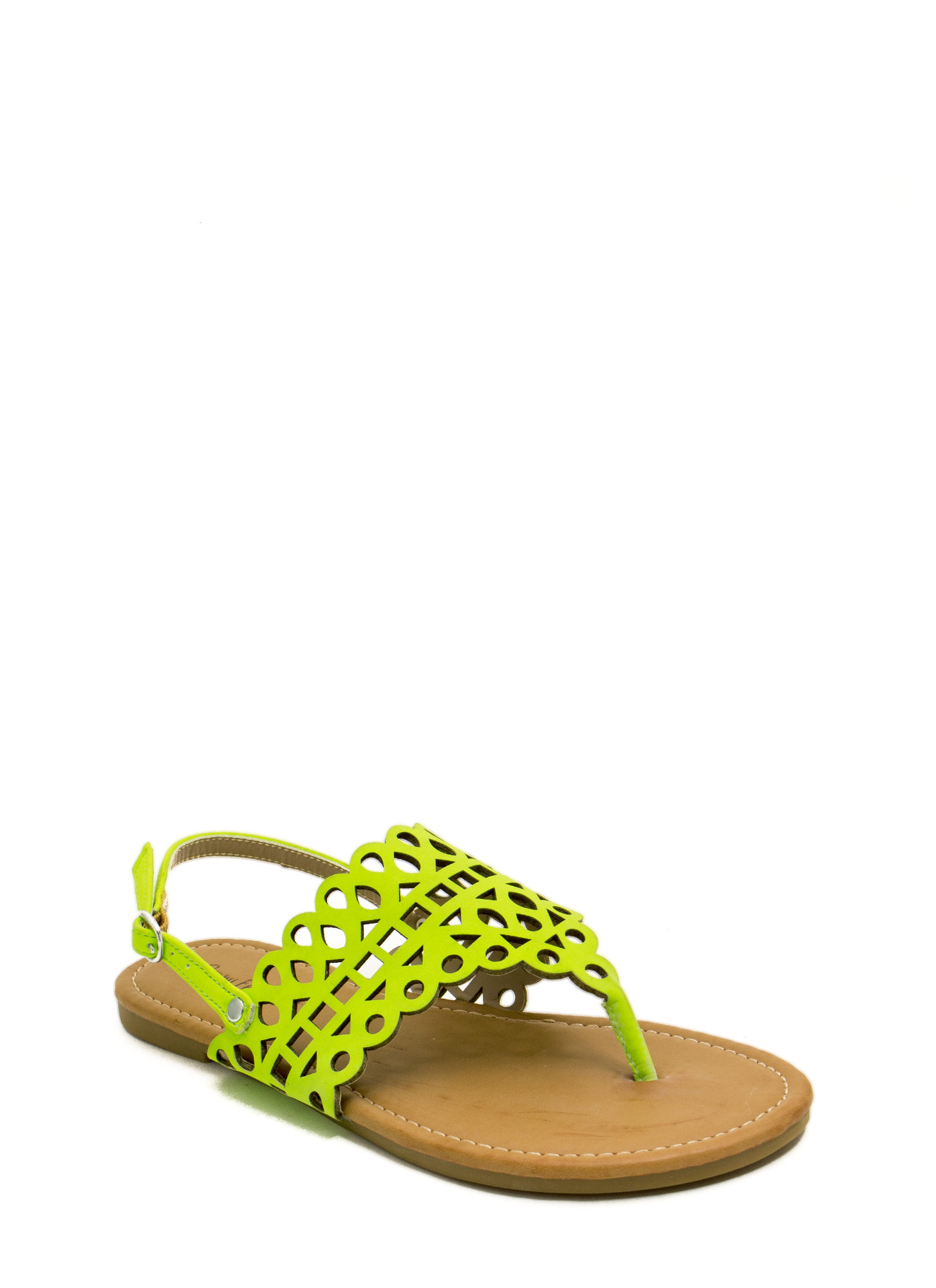 Made The Cut-Out Thong Sandals NEONLIME