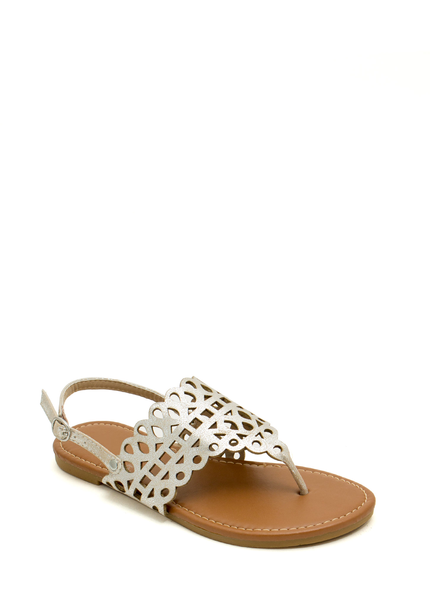 Made The Cut-Out Thong Sandals SILVER