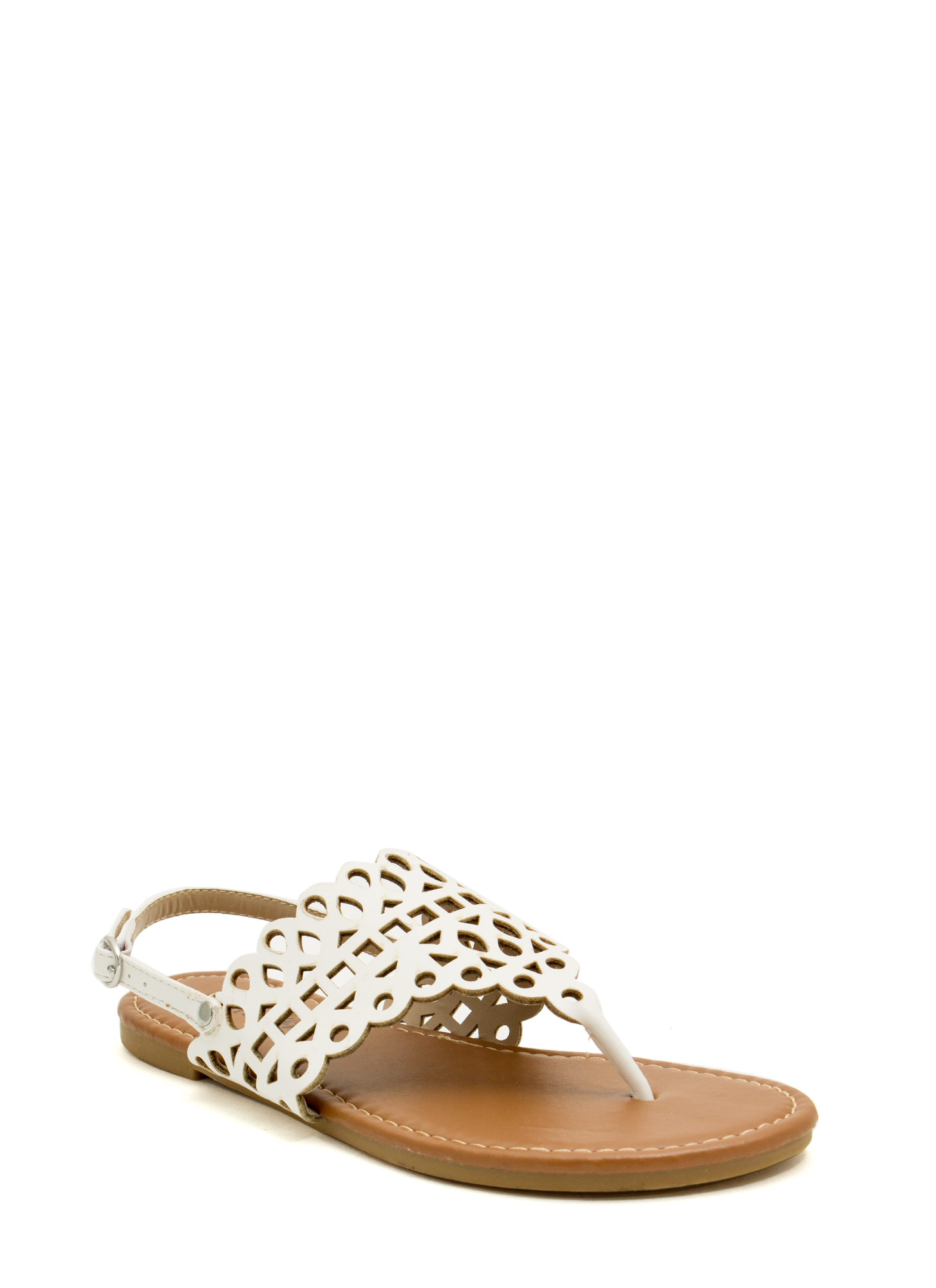 Made The Cut-Out Thong Sandals WHITE