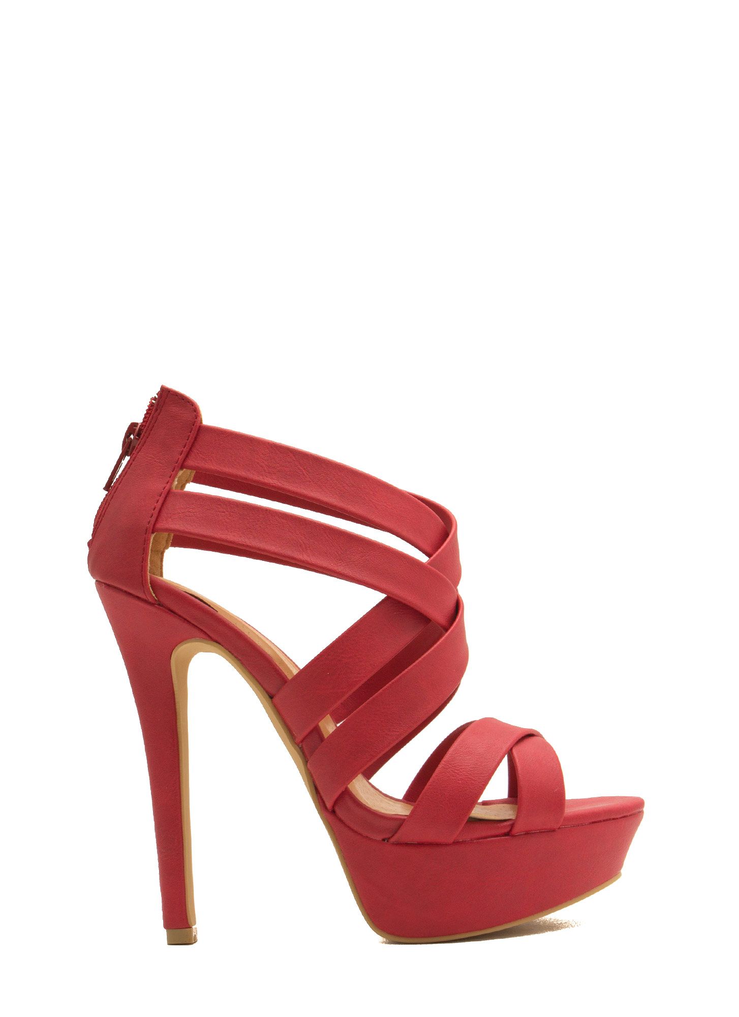 Crosscut Strappy Platform Heels RED