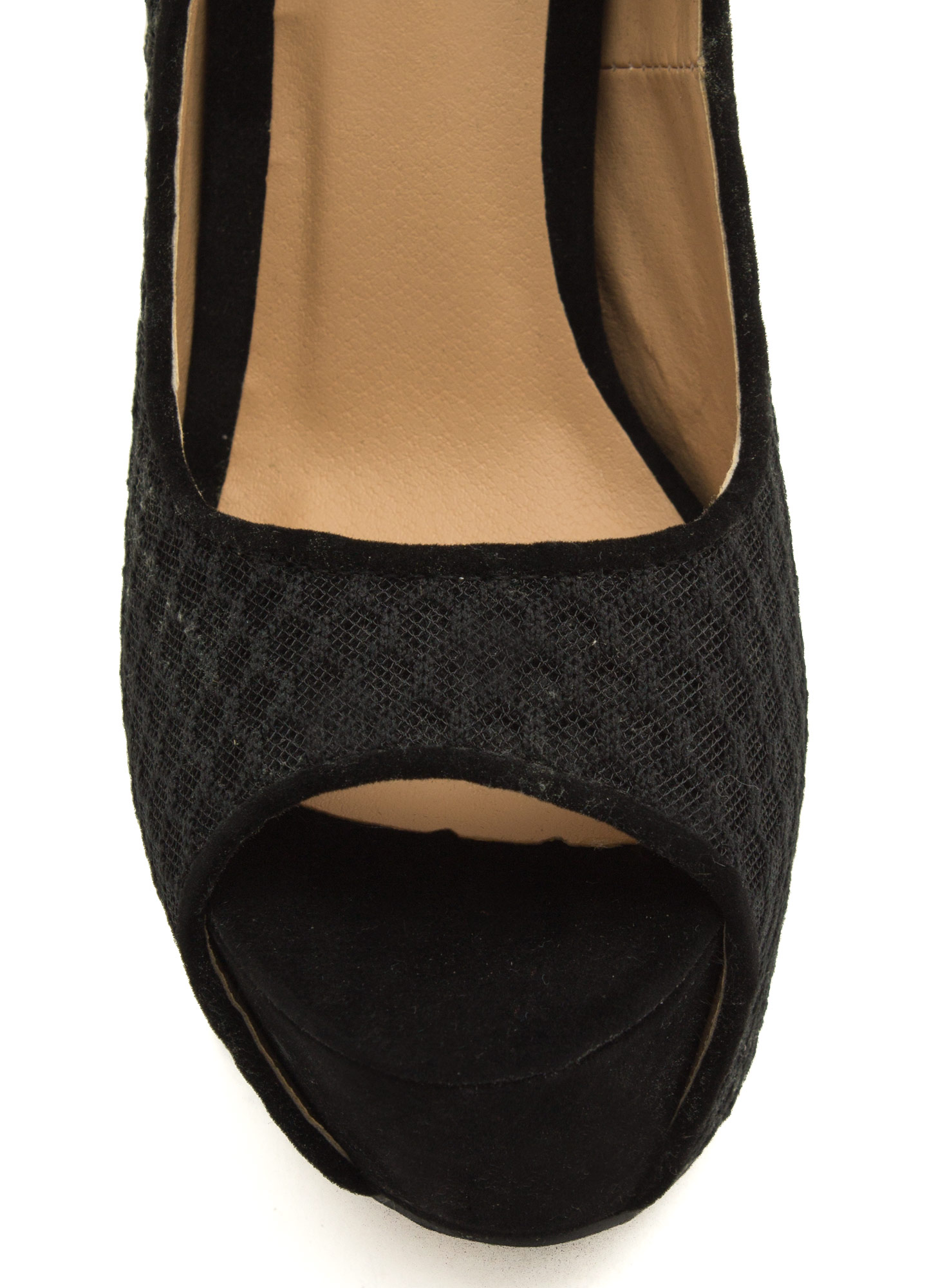 Honeycomb Mesh Peep-Toe Heels BLACK
