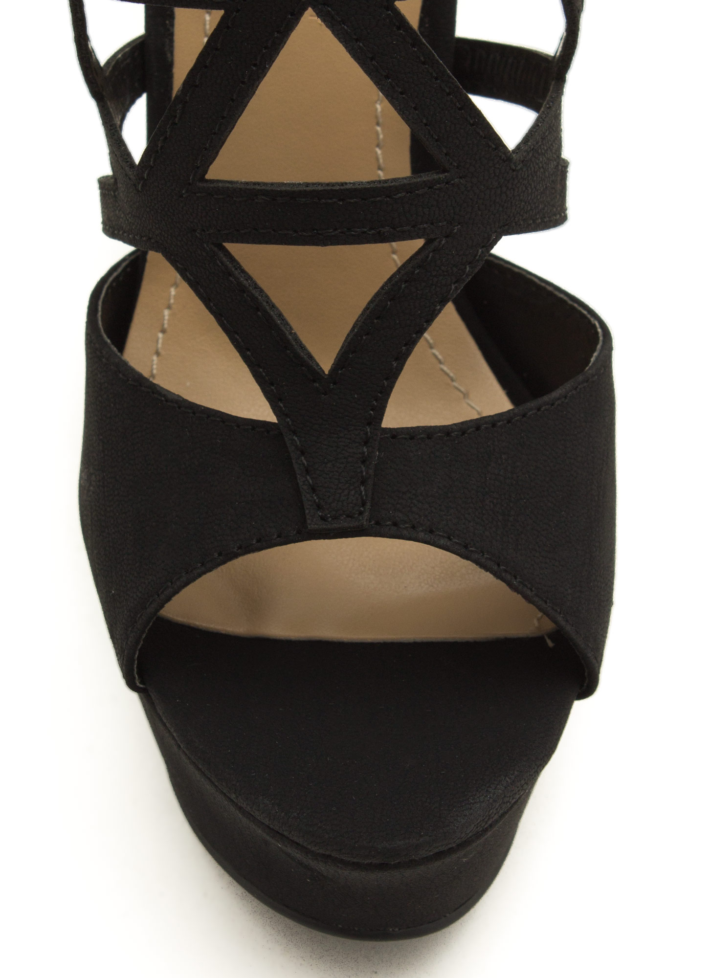 Taking Shape Strappy Cut-Out Heels BLACK