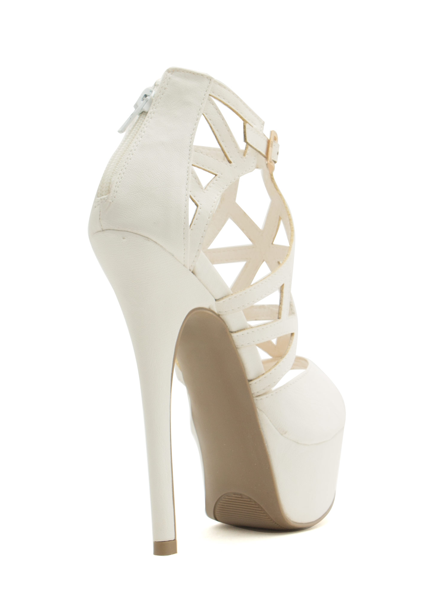 Taking Shape Strappy Cut-Out Heels WHITE