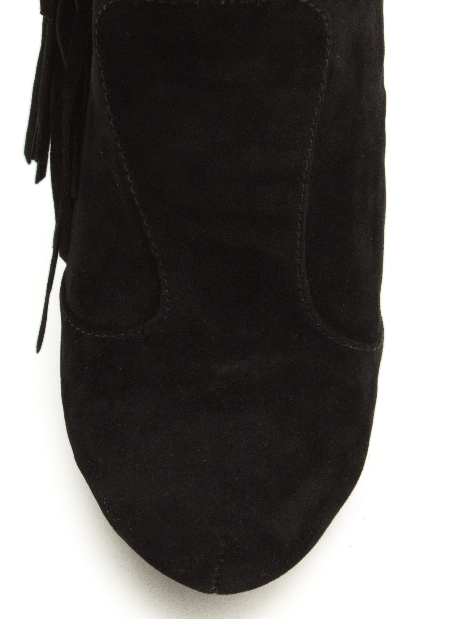 Fringe With Benefits Stiletto Booties BLACK