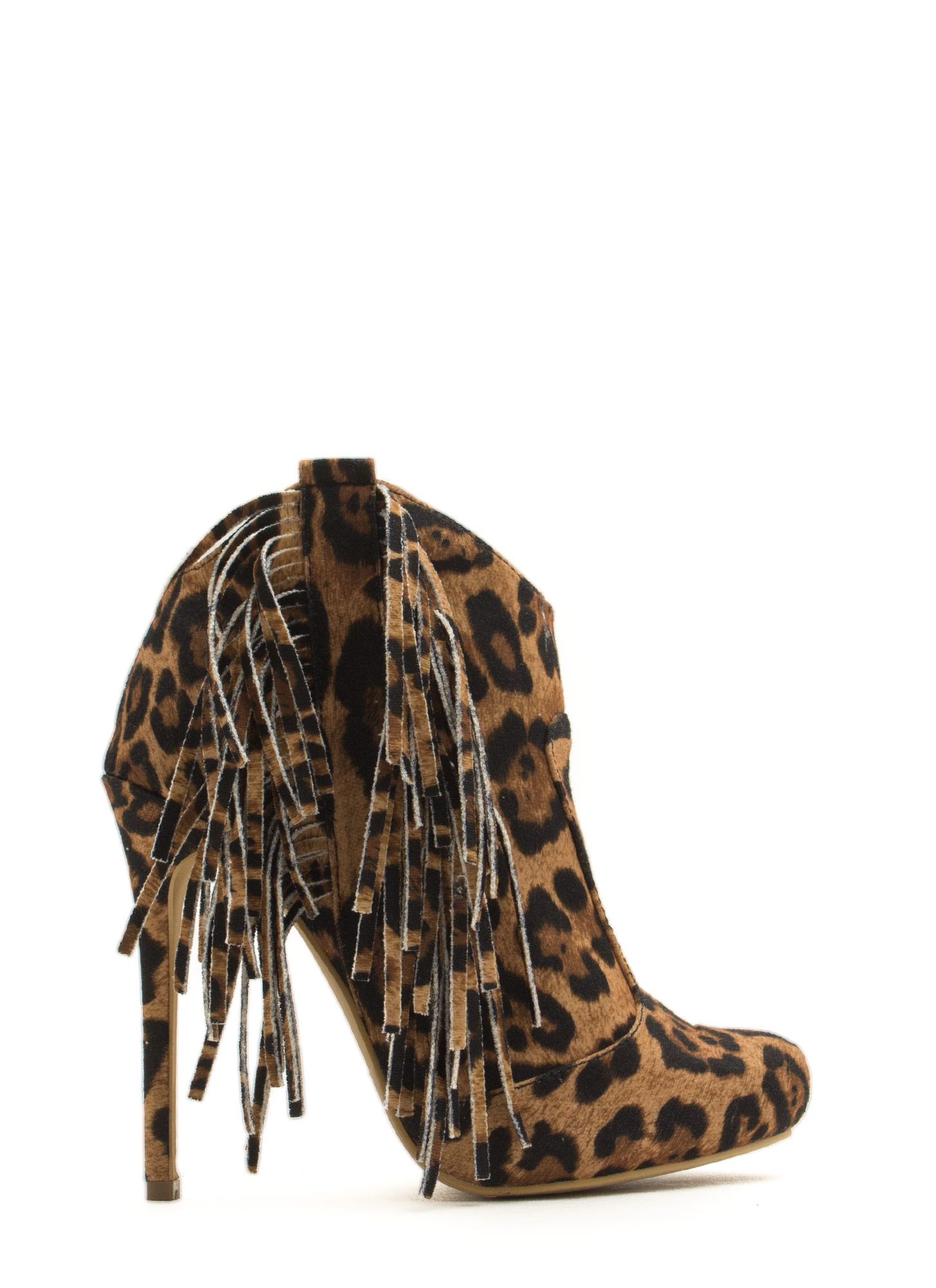 Fringe With Benefits Stiletto Booties LEOPARD