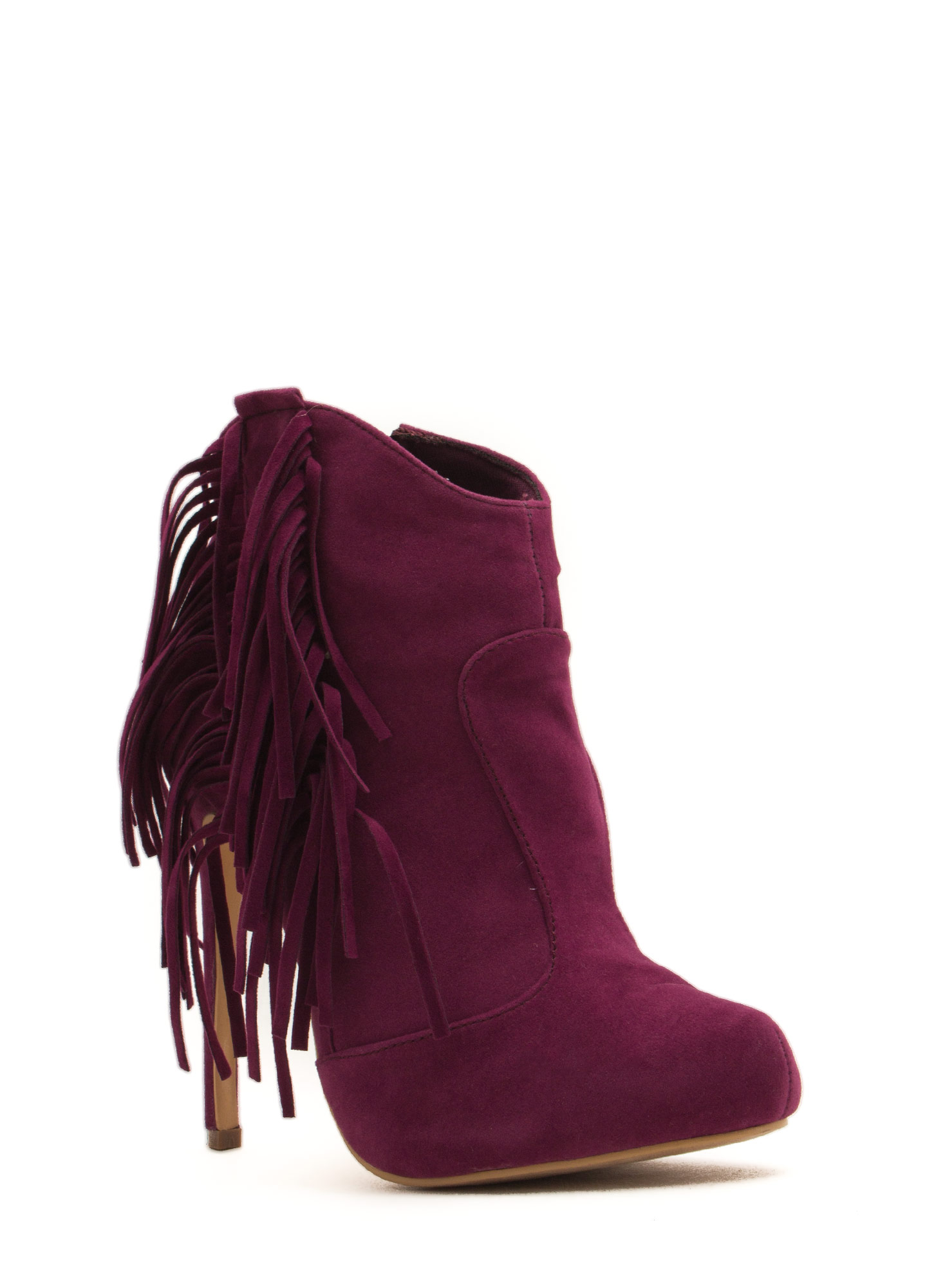 Fringe With Benefits Stiletto Booties PURPLE