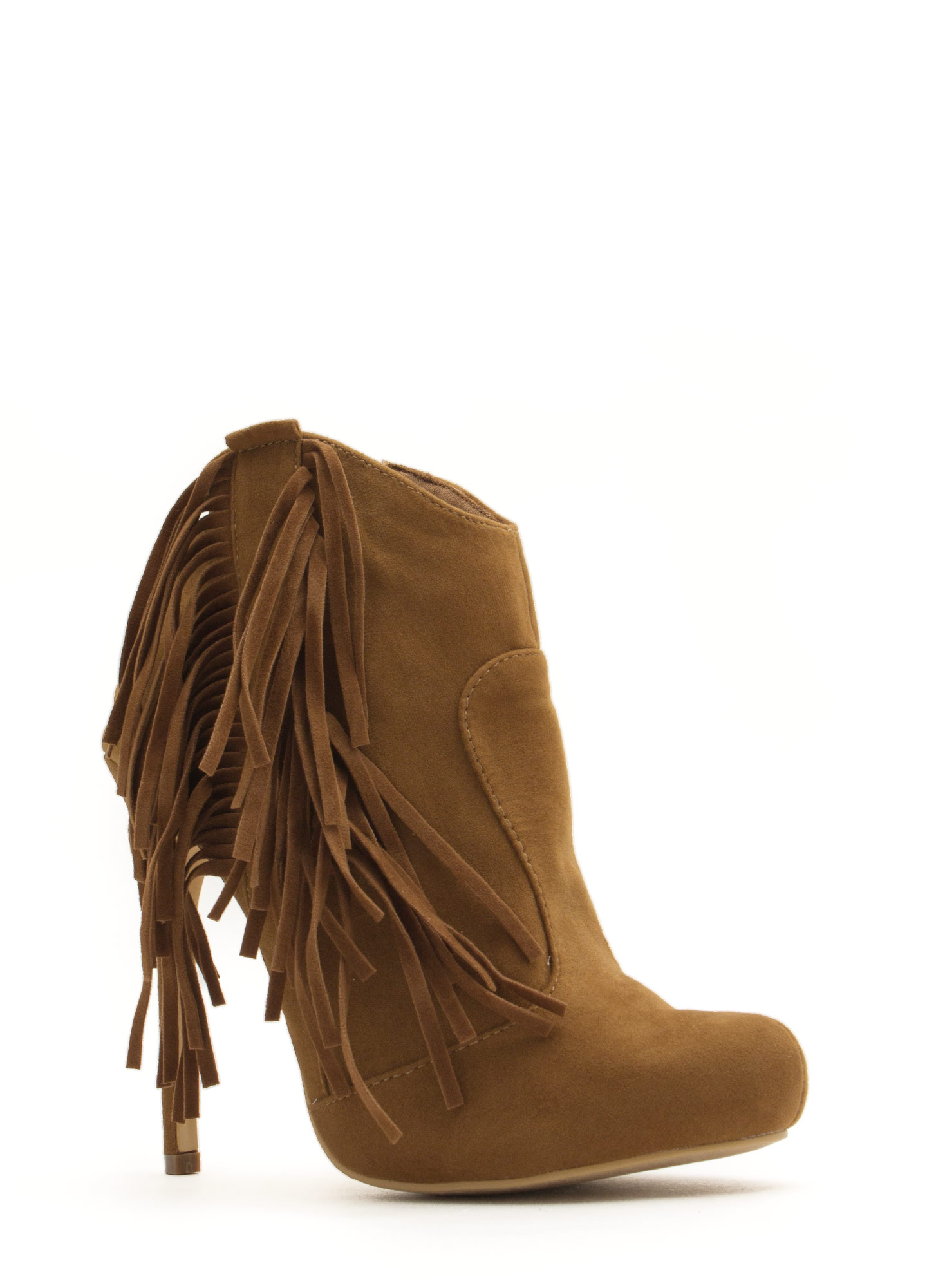 Fringe With Benefits Stiletto Booties TAN