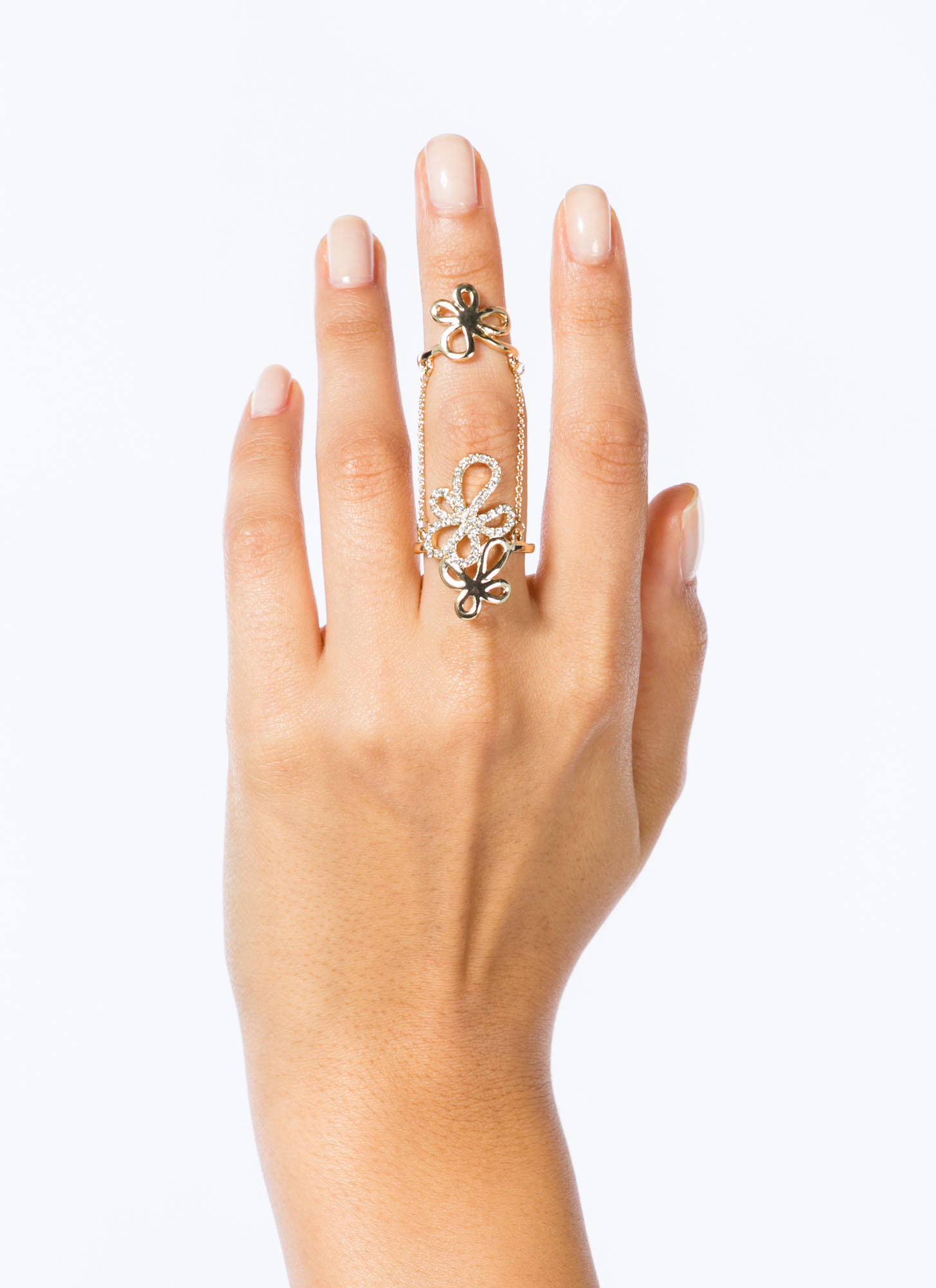 Cut-Out Floral Ring Duo GOLD