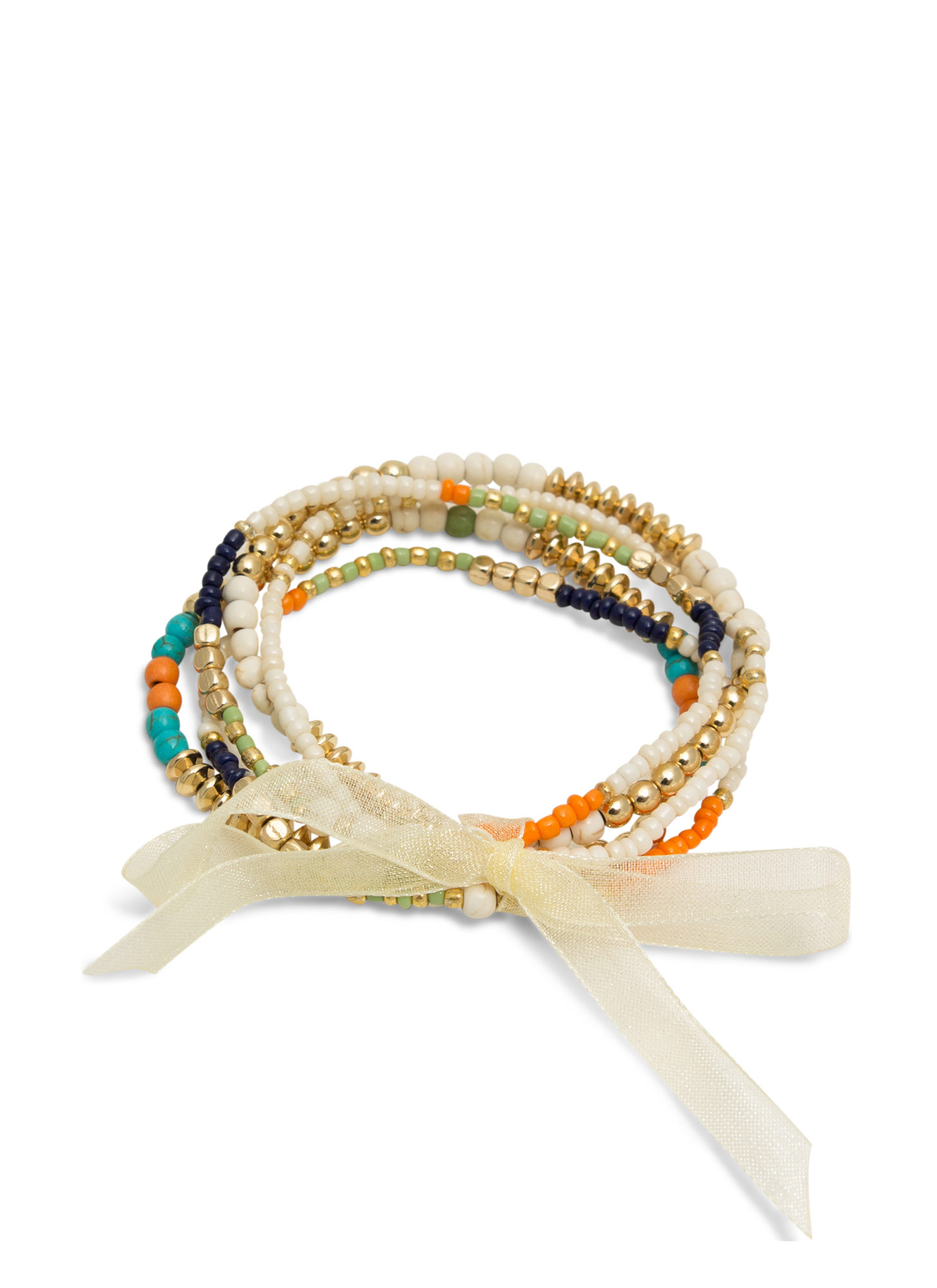 Tribal Beaded Bracelet Set WHITEMULTI