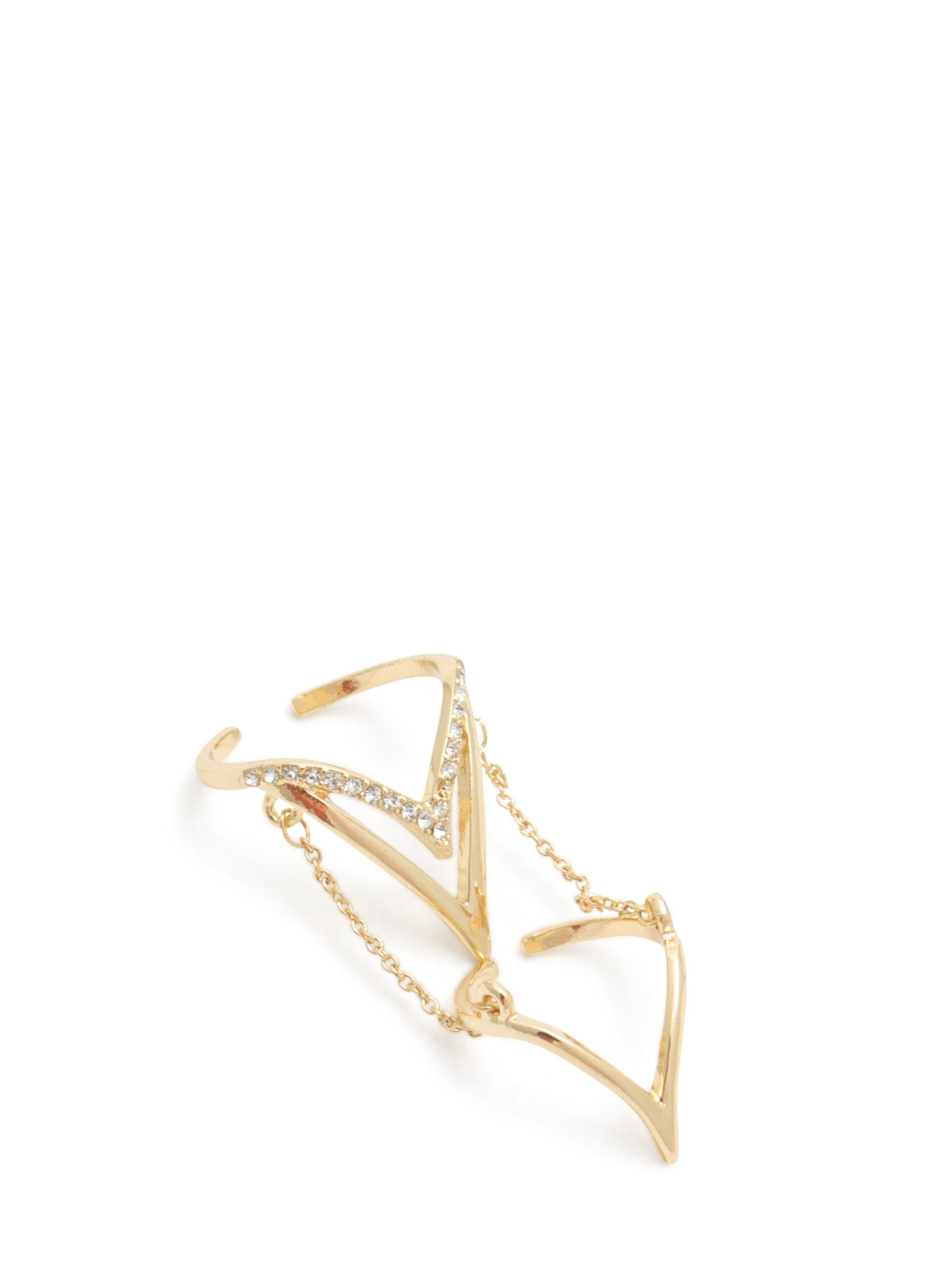 V-Shape Rhinestone Ring Duo GOLD