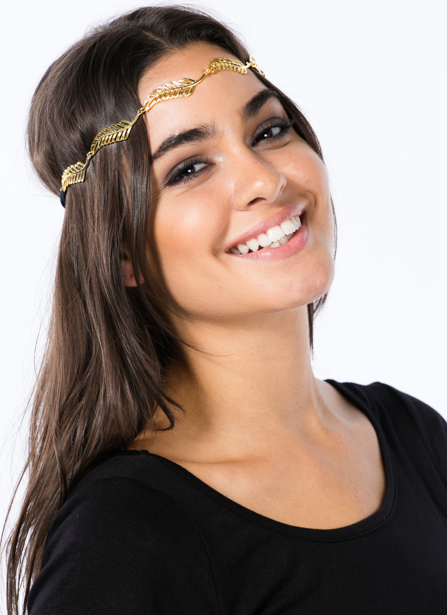 Metallic Cut-Out Leaf Headband GOLD