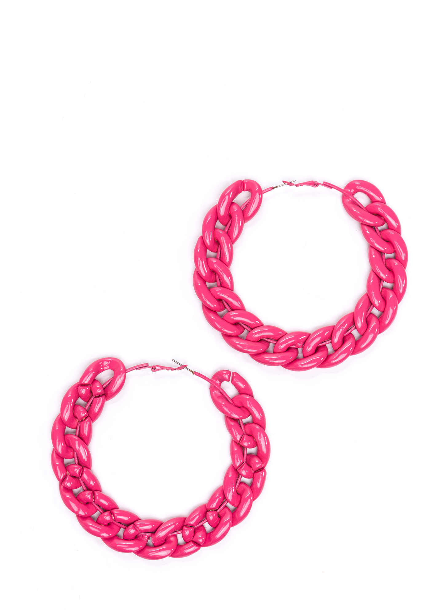 Smooth 'N Shiny Chain Hoop Earrings HOTPINK