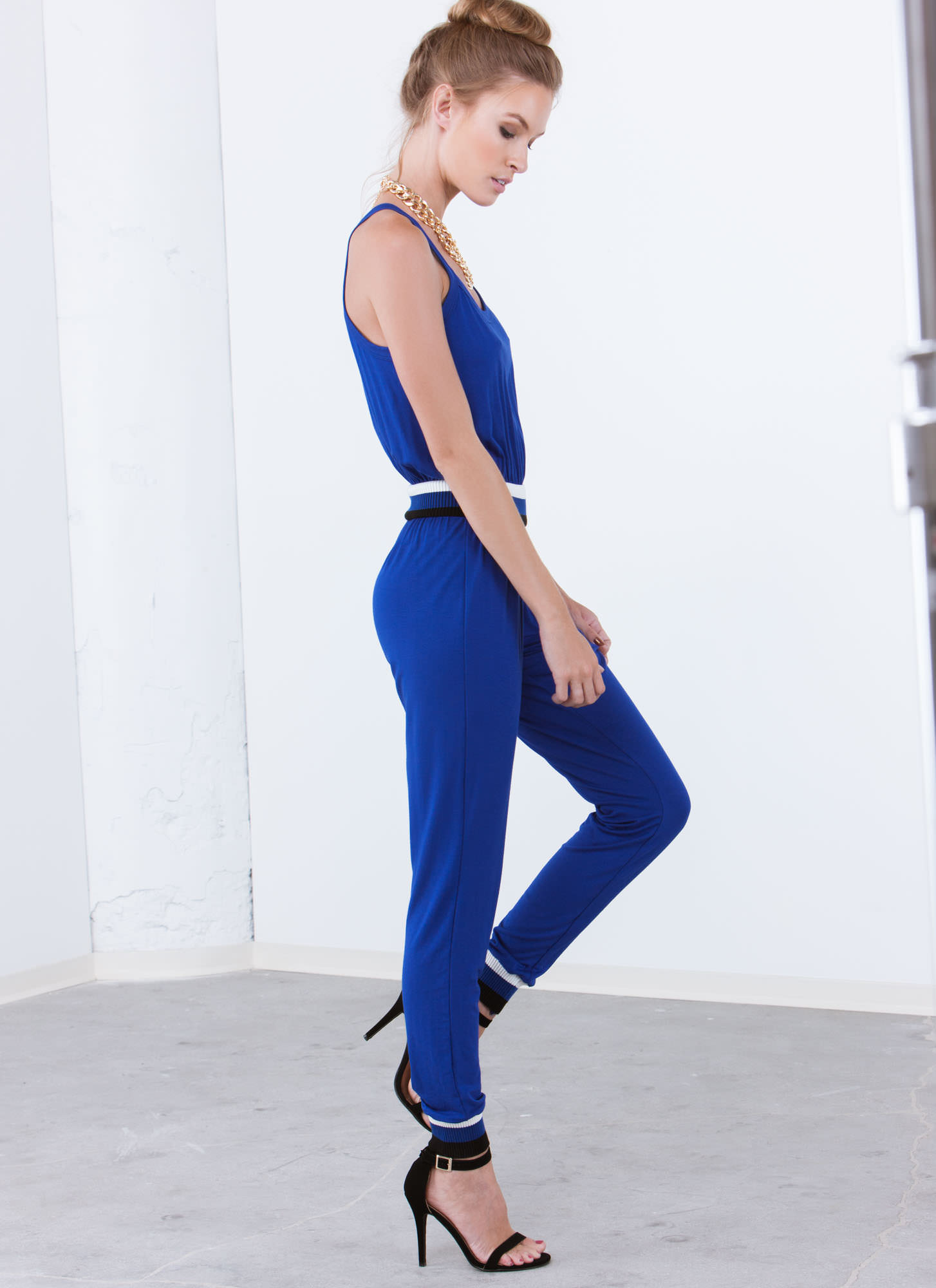 Varsity Trim Jumpsuit ROYAL