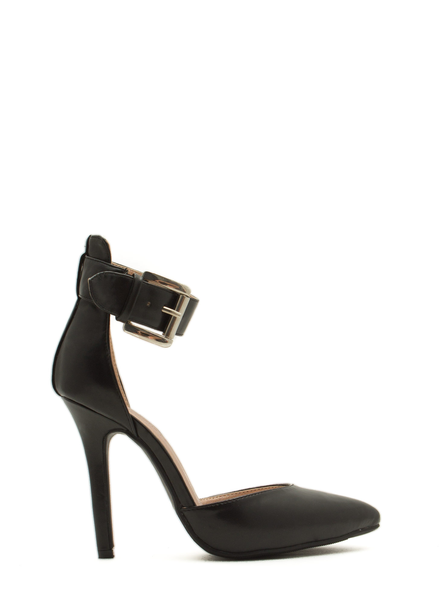What Did U D'Orsay Faux Leather Heels BLACK