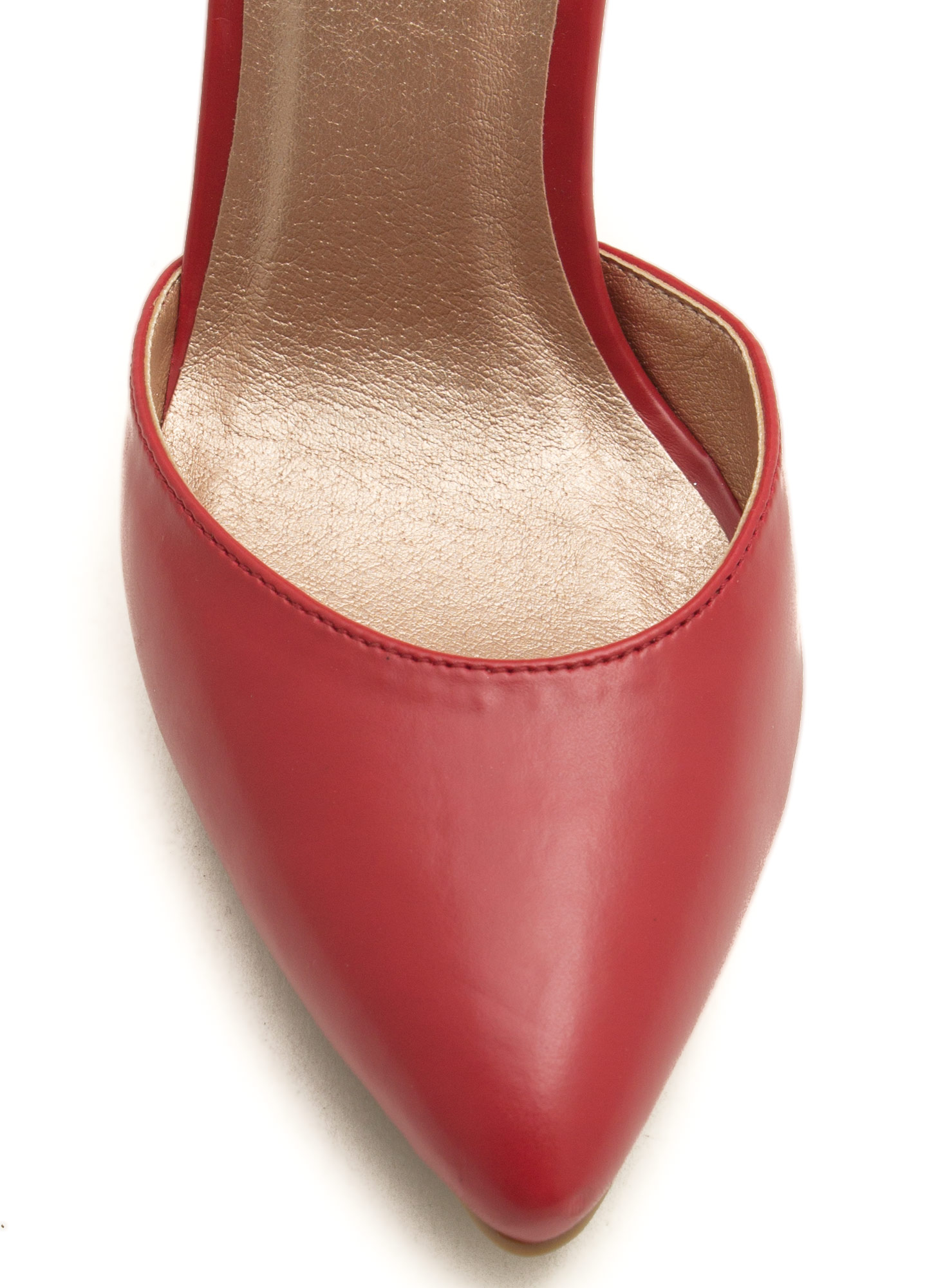 What Did U D'Orsay Faux Leather Heels RED