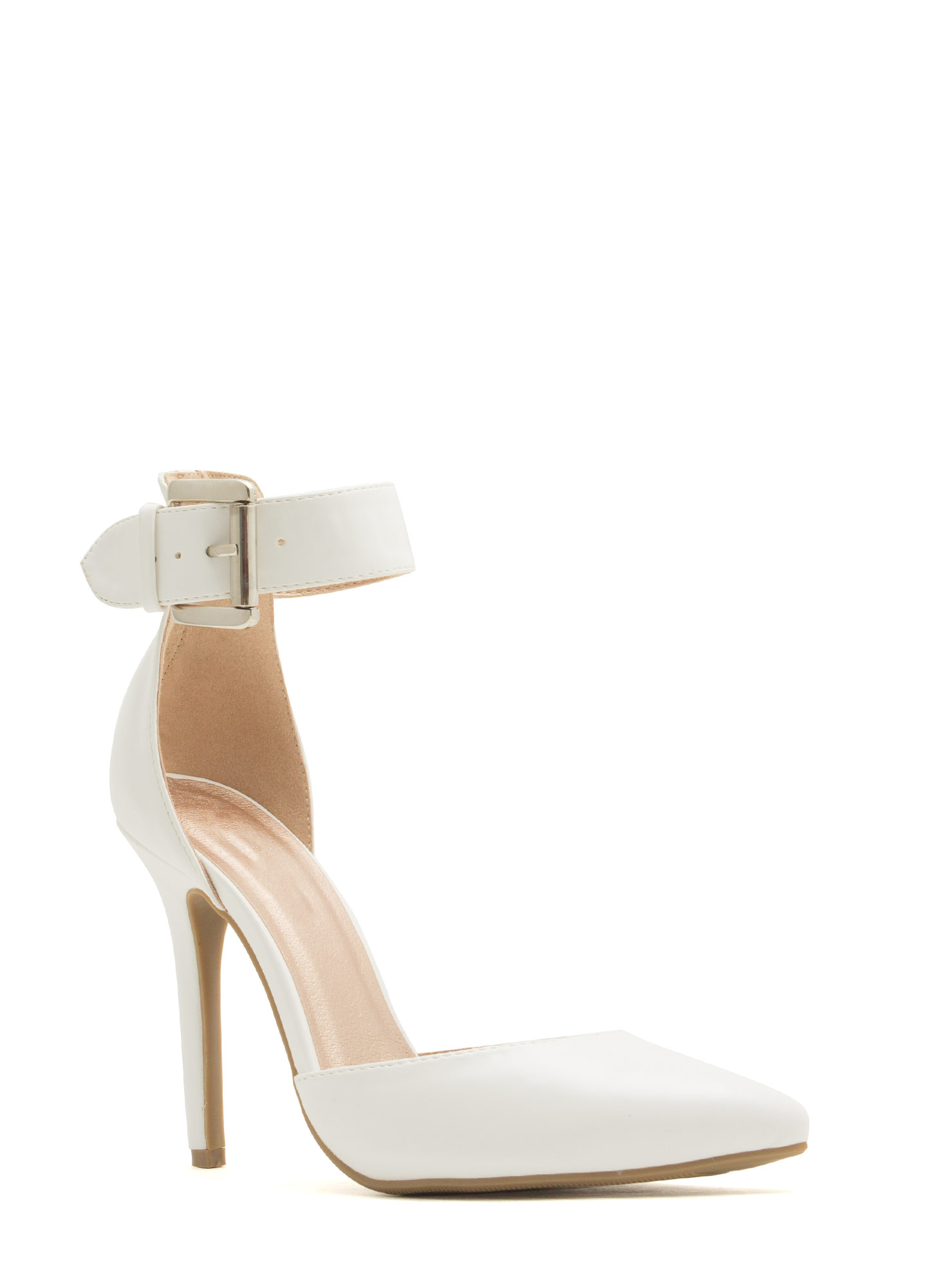 What Did U D'Orsay Faux Leather Heels WHITE