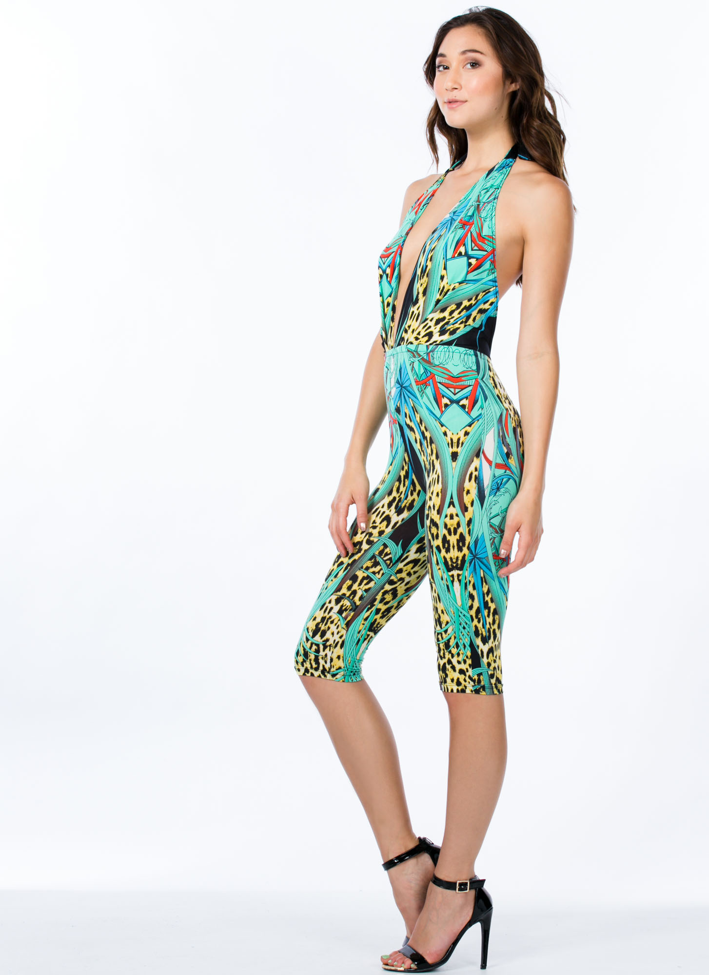 Leopard Foliage Cropped Jumpsuit GREEN