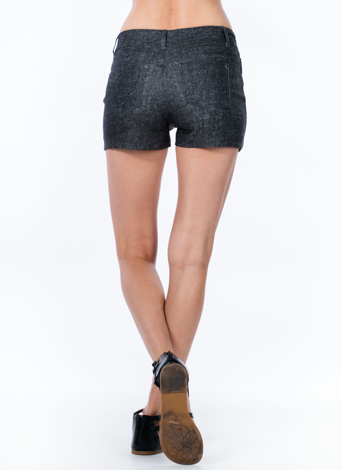 Denim Desires High-Waisted Shorts BLACK