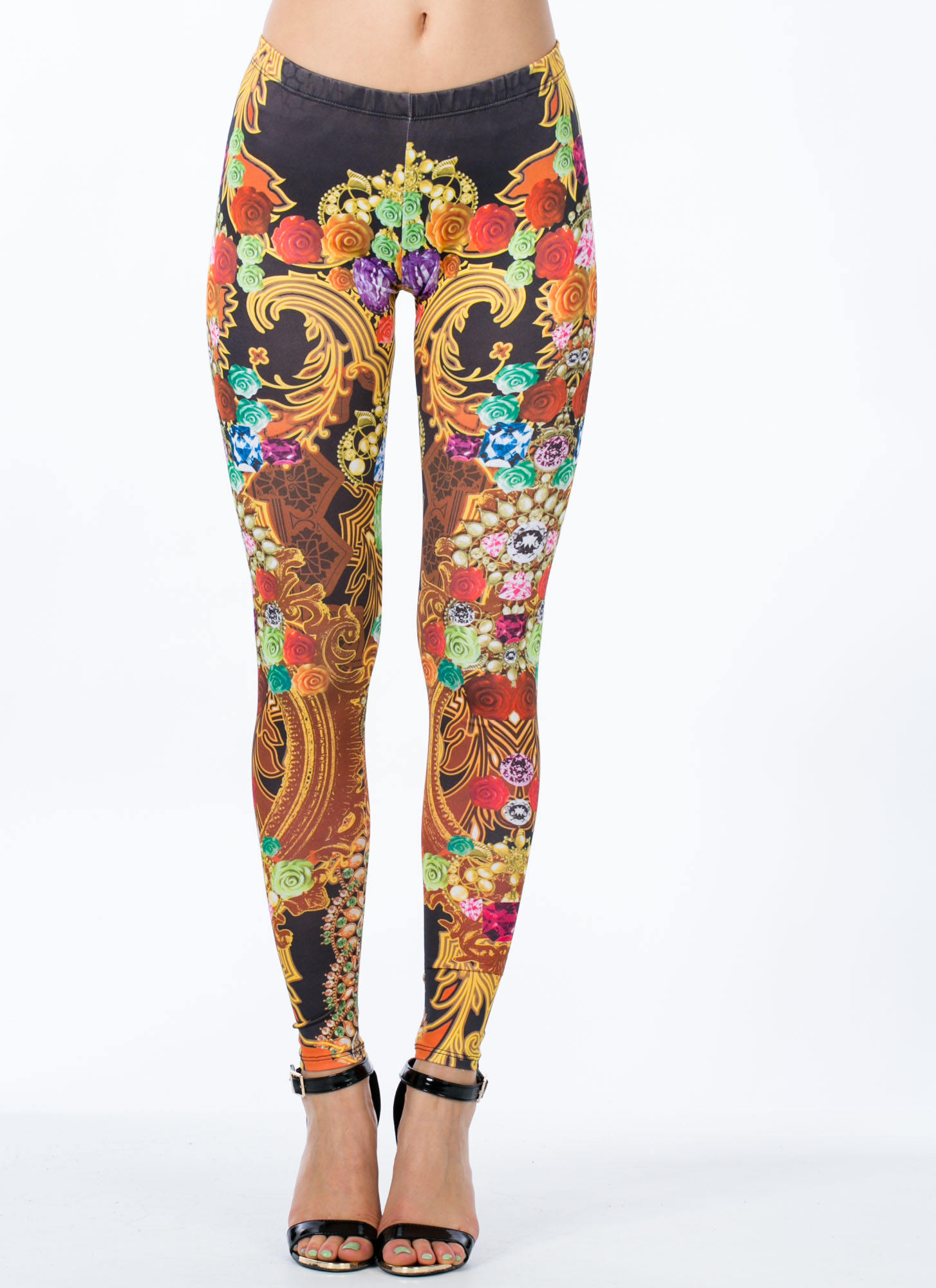 Rose And Shine Scroll Print Leggings BLACK