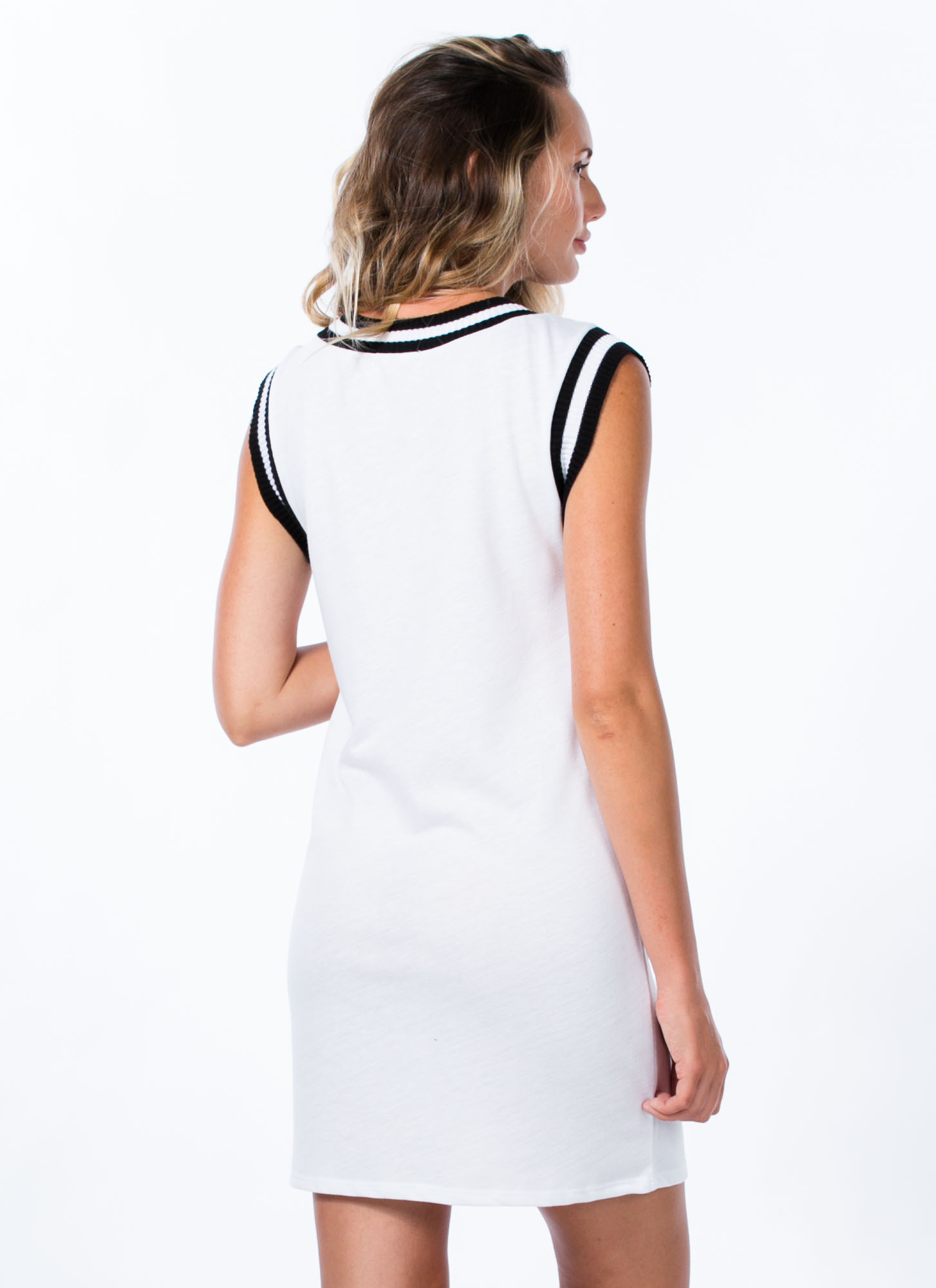 Varsity Trim Sweater Dress WHITE