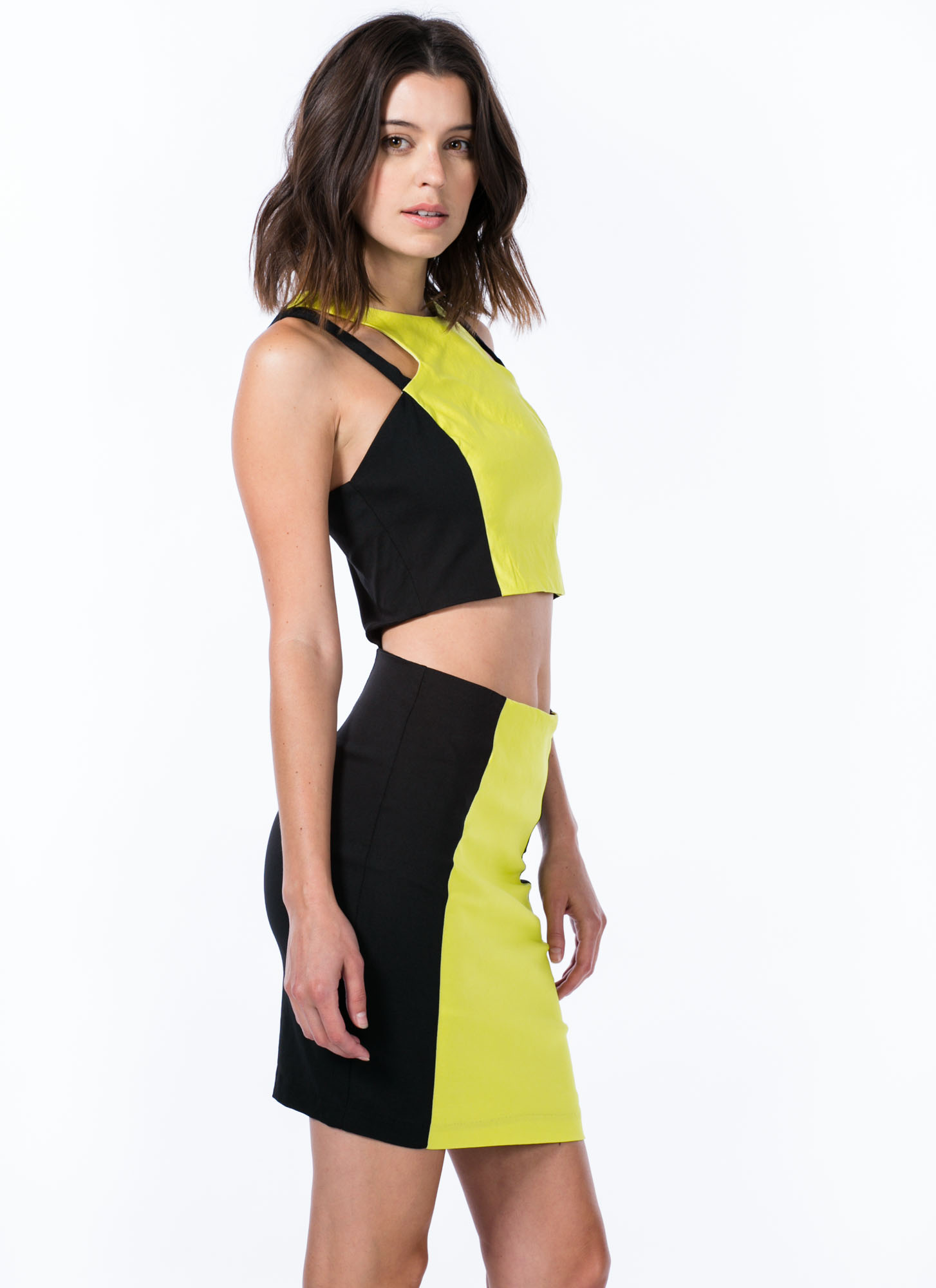2 Become 1 Colorblock Cut-Out Dress BLACKCITRON