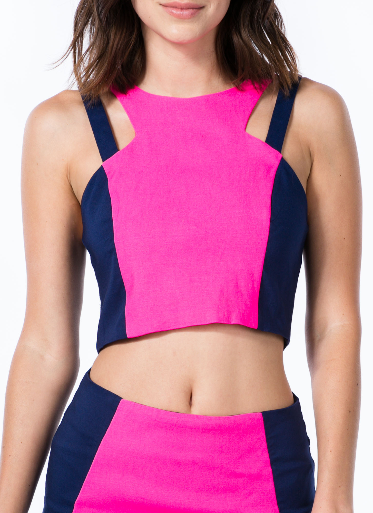 2 Become 1 Colorblock Cut-Out Dress NAVYPINK (Final Sale)