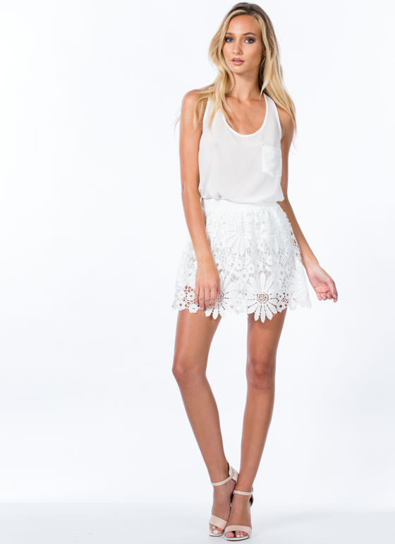 Daisy Crochet Overlay Skirt WHITE