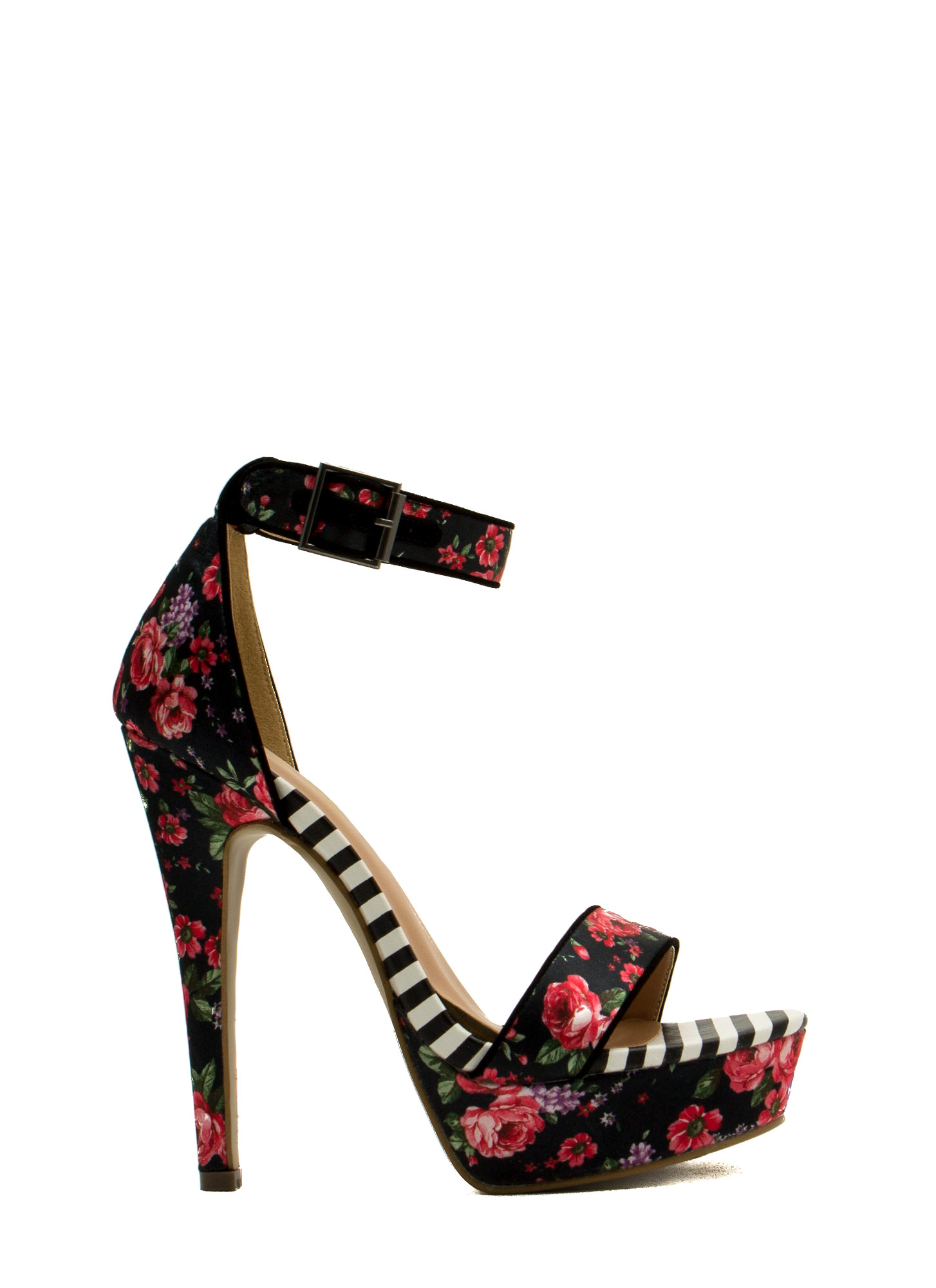 Rose Cluster Striped Print Platform Heels BLACK