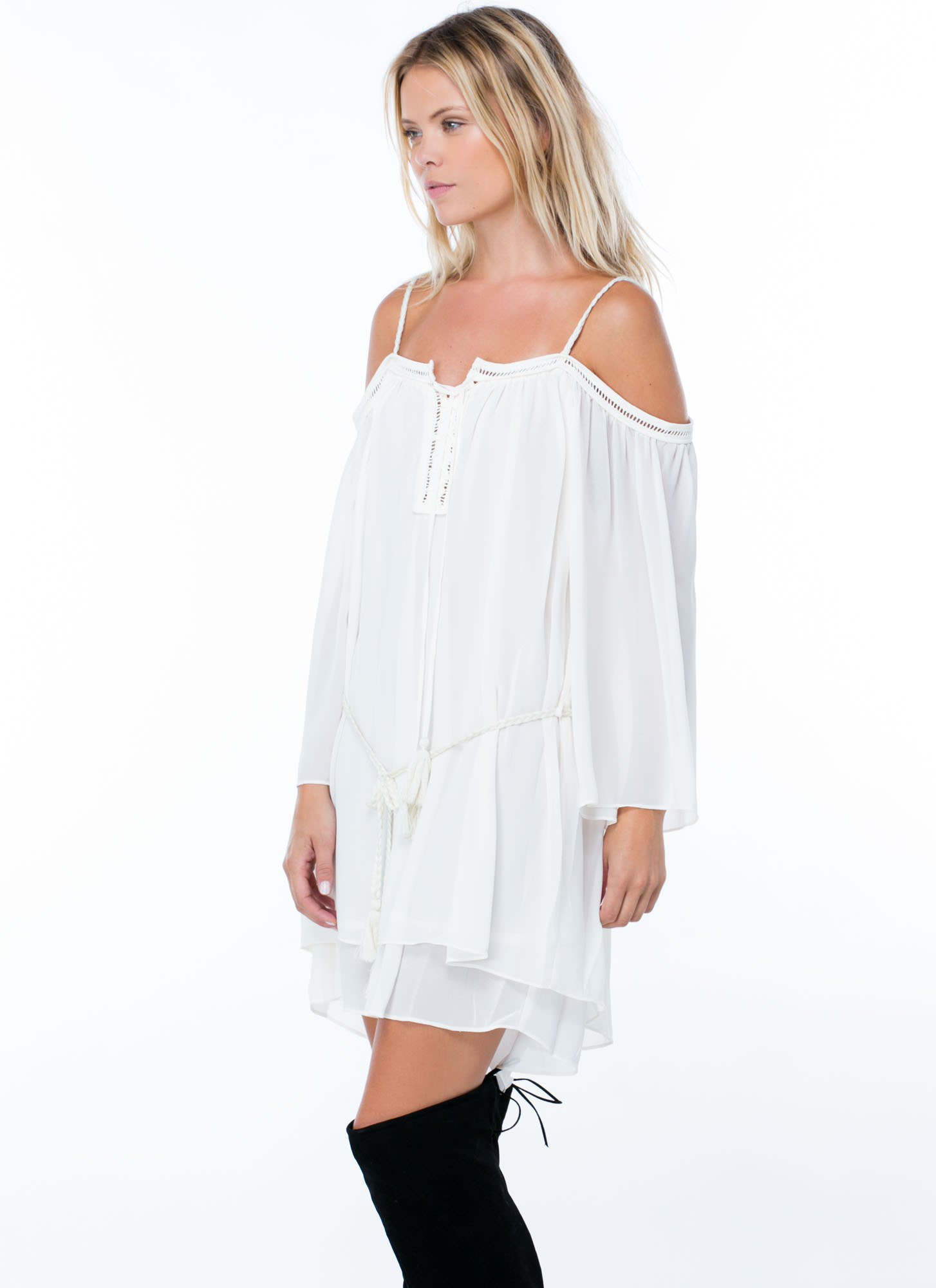 Tasseled Off-The-Shoulder Dress CREAM