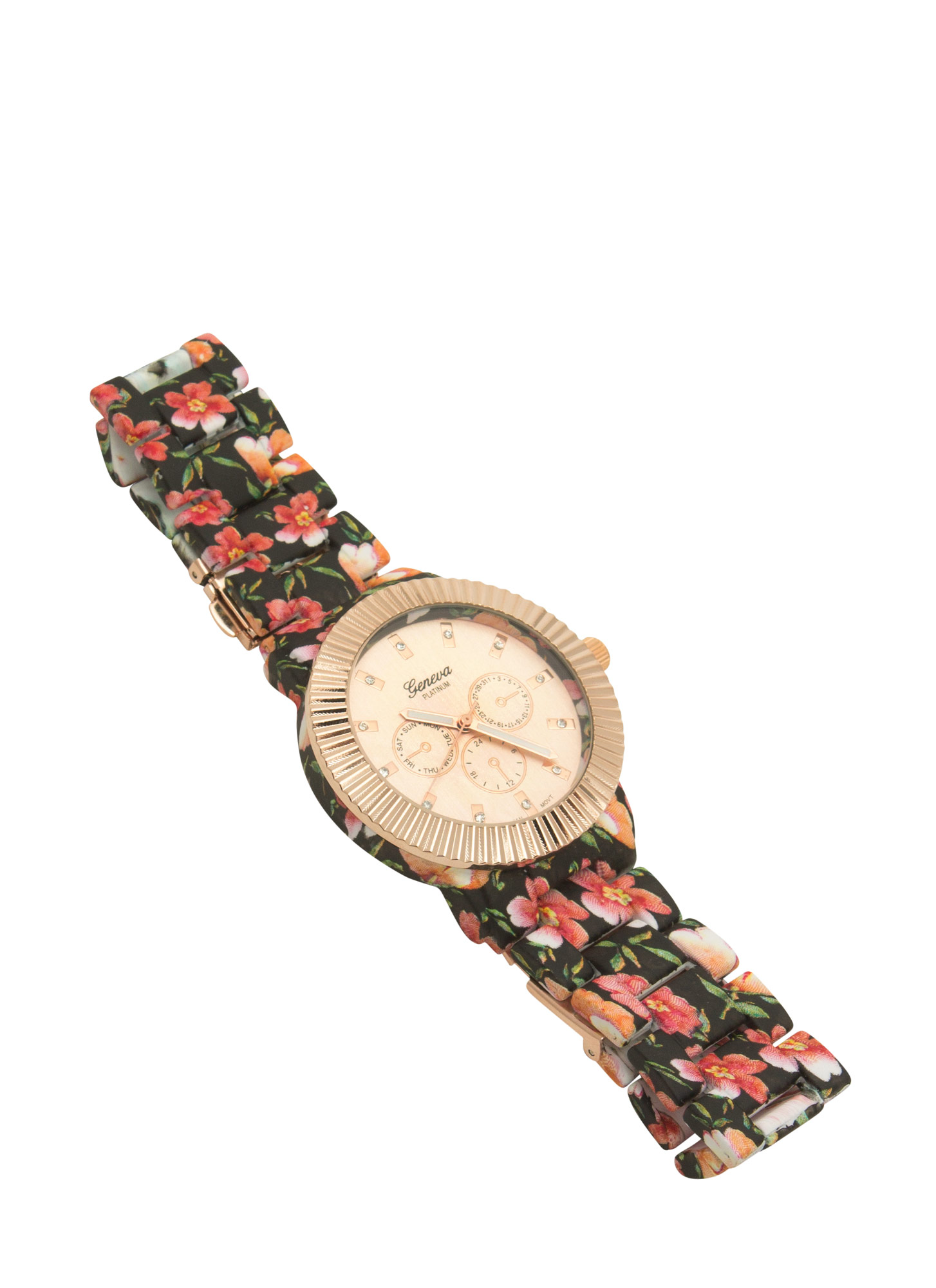 Floral Print Coated Watch BLACKMULTI