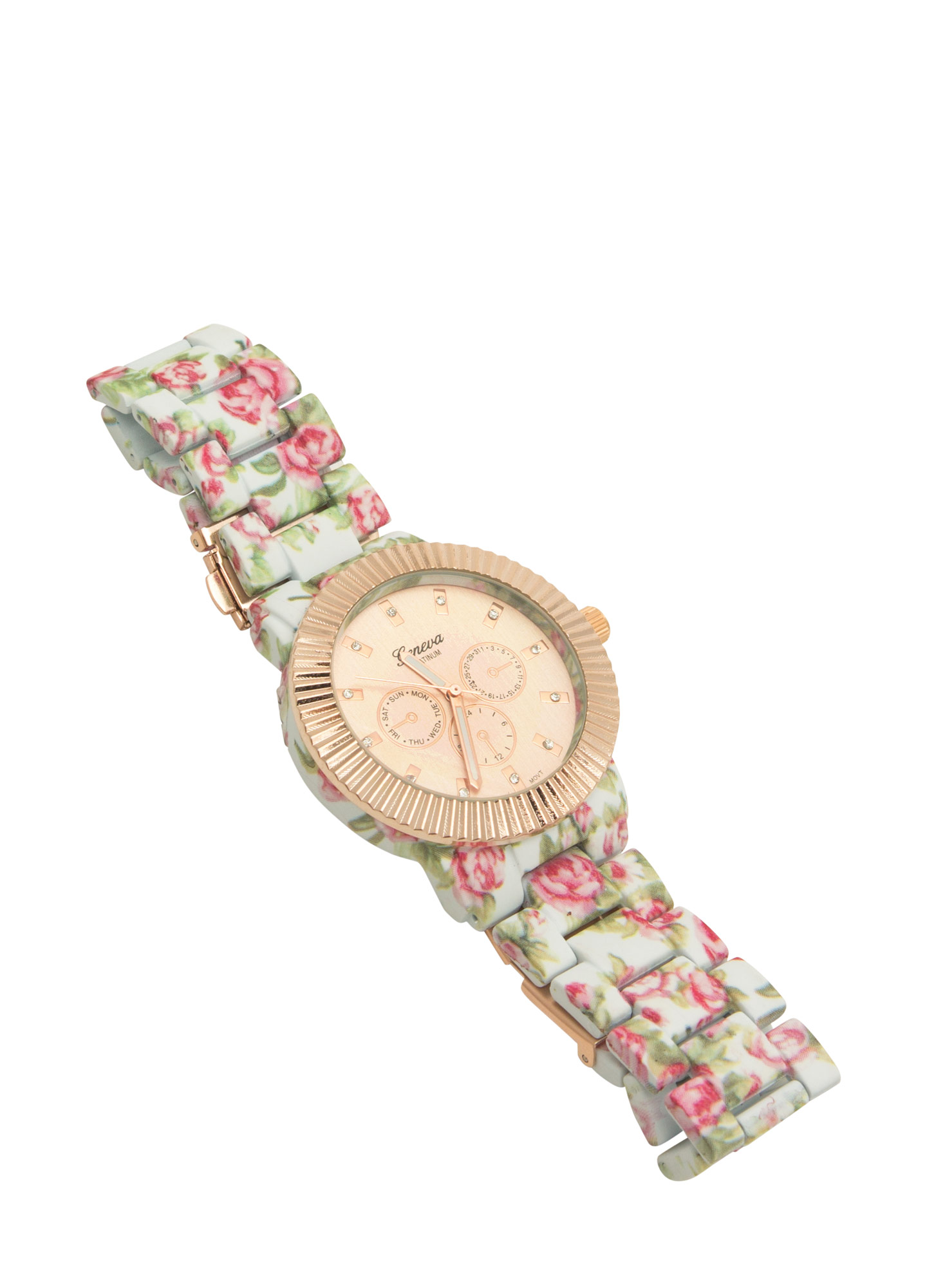 Floral Print Coated Watch WHITEMULTI
