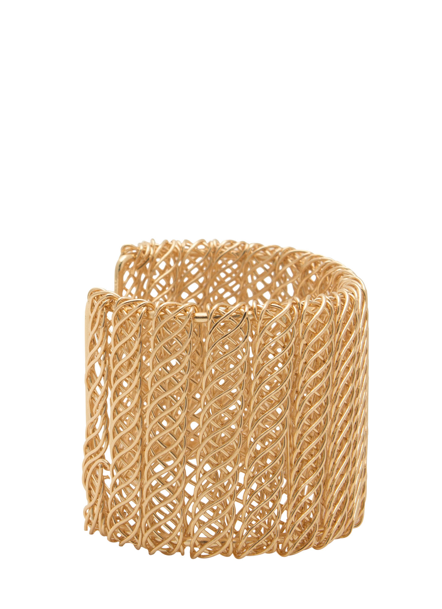 Metal Helix Wrapped Wire Cuff GOLD