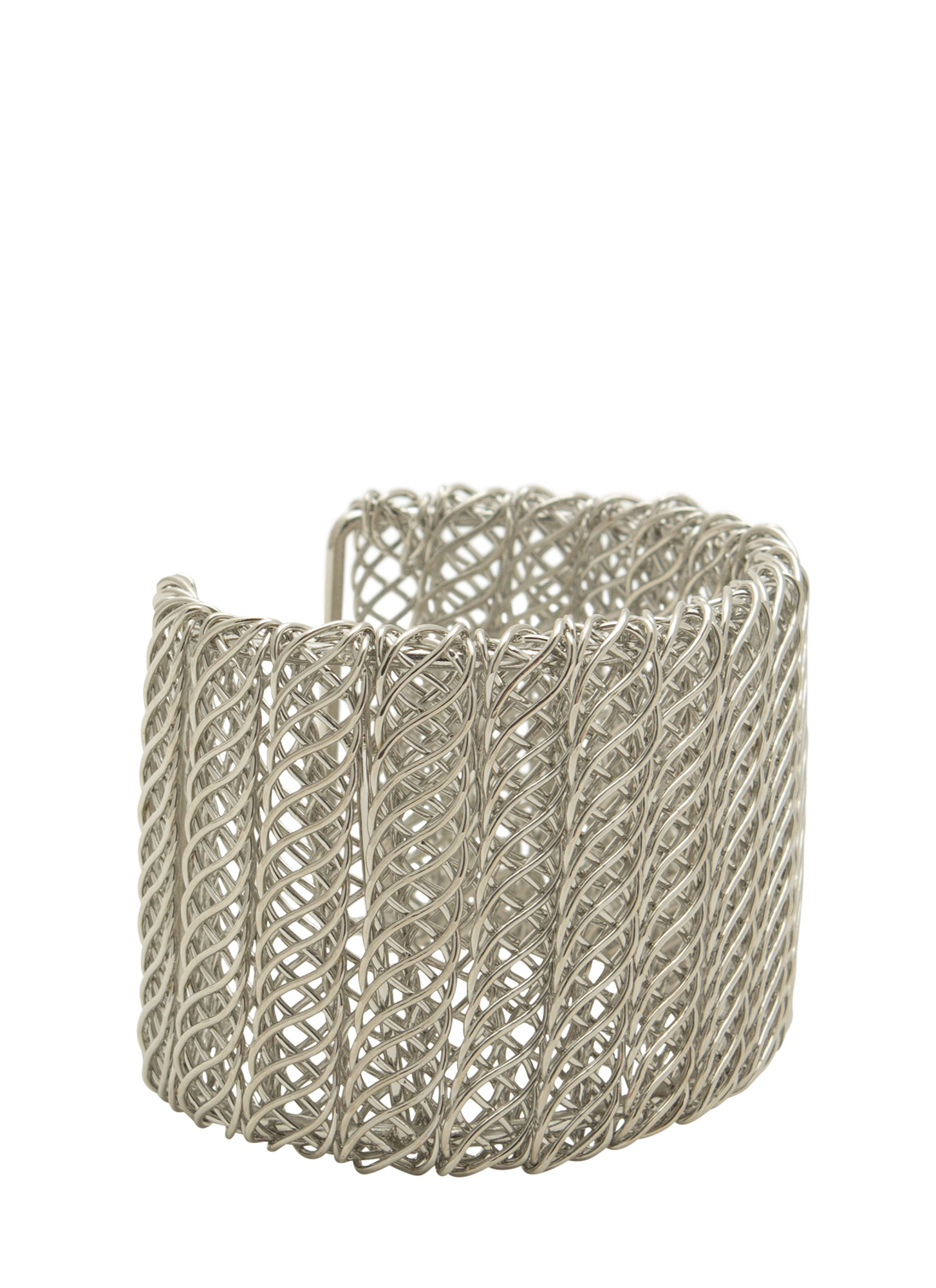 Metal Helix Wrapped Wire Cuff SILVER