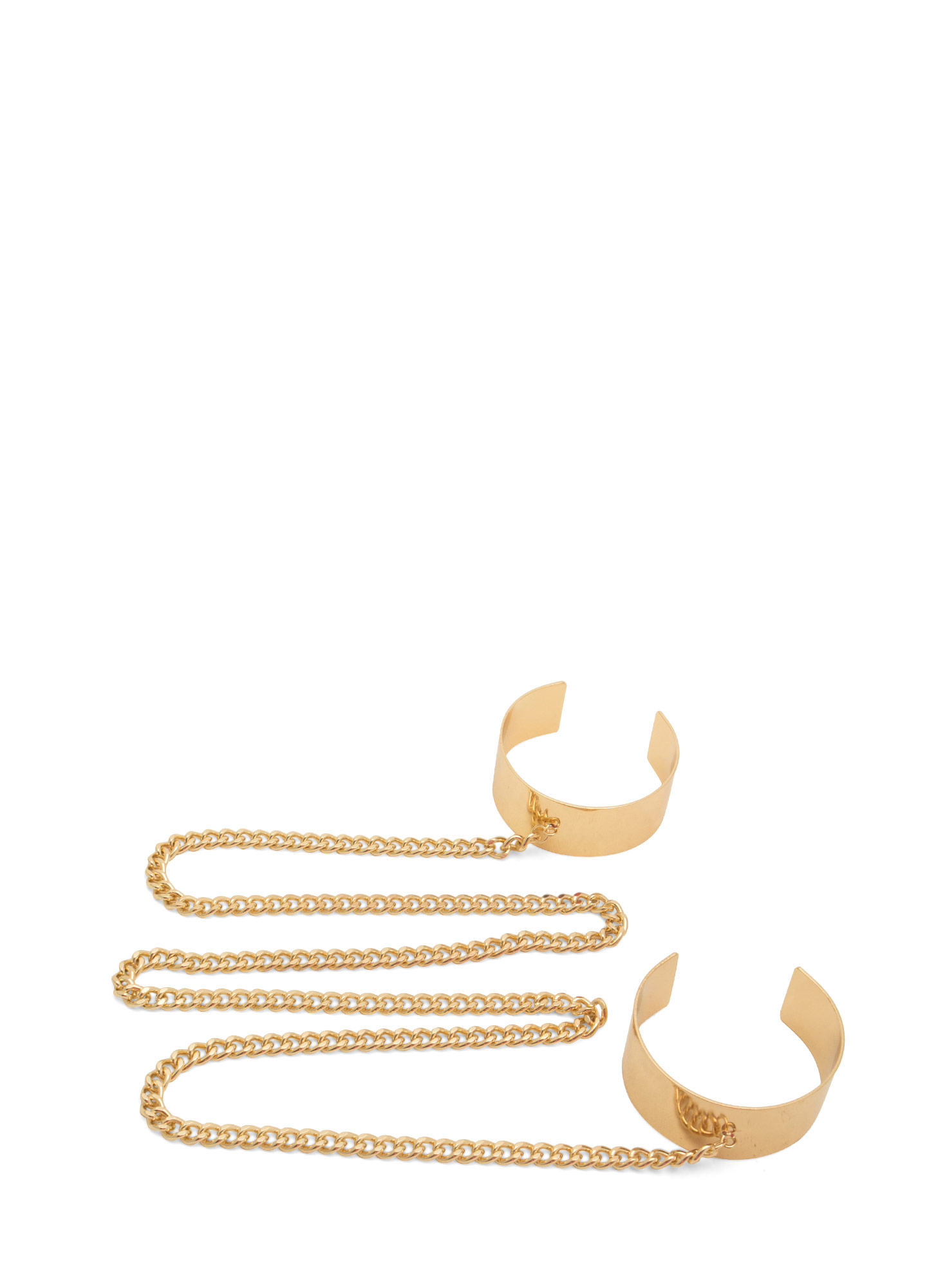 Long Chained Metal Arm Cuff Duo GOLD