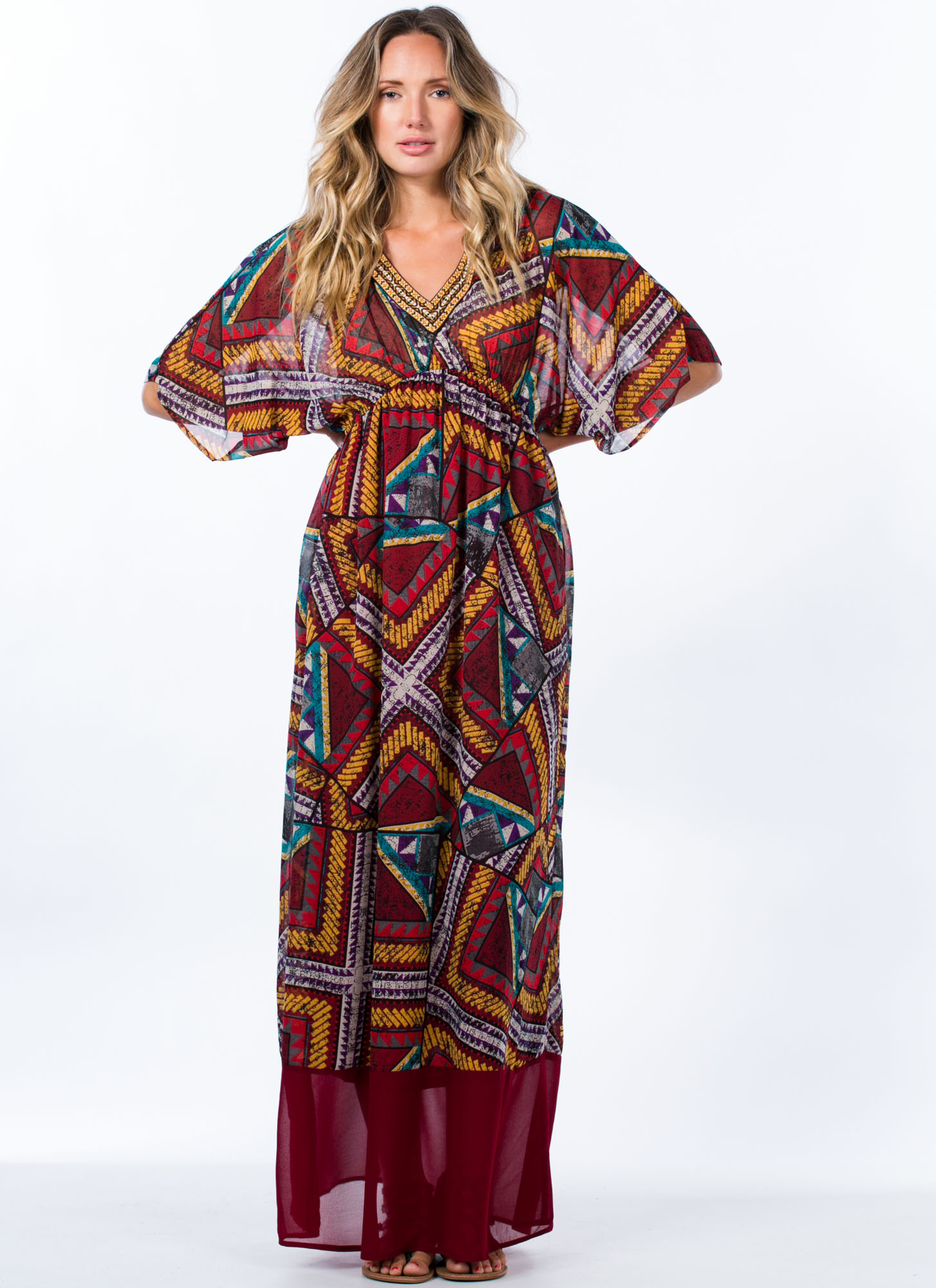 Tap Into Tapestry Tribal Print Maxi BURGUNDY