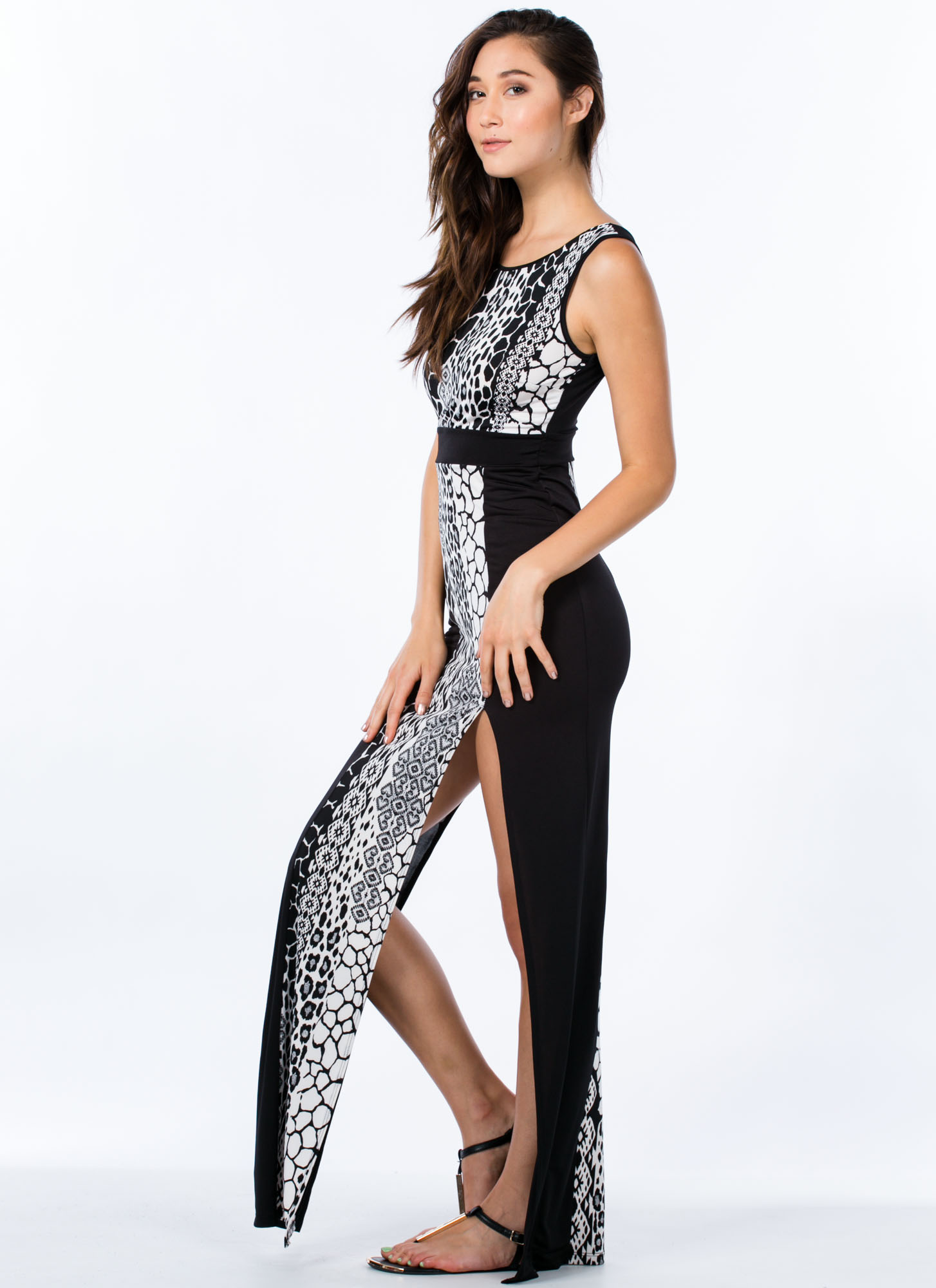 Into The Wild Mixed Print Panel Maxi BLACK