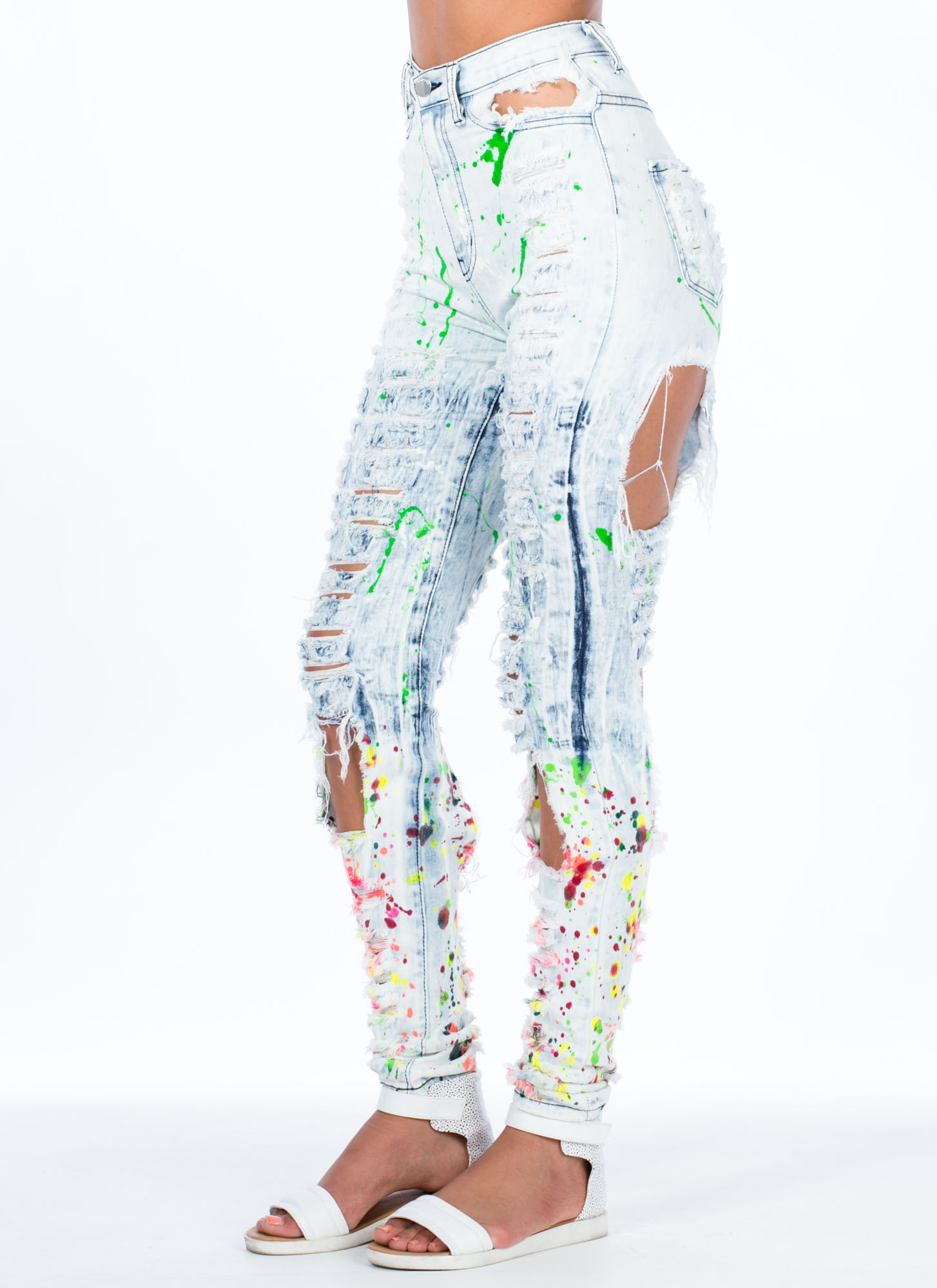 Painted Love Distressed Skinny Jeans LTBLUE