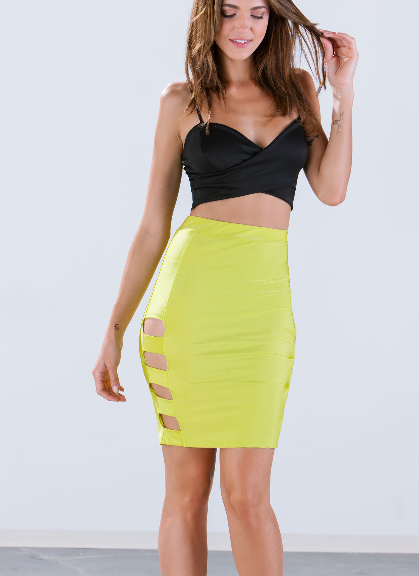 Banded Cut-Out Skirt CITRON