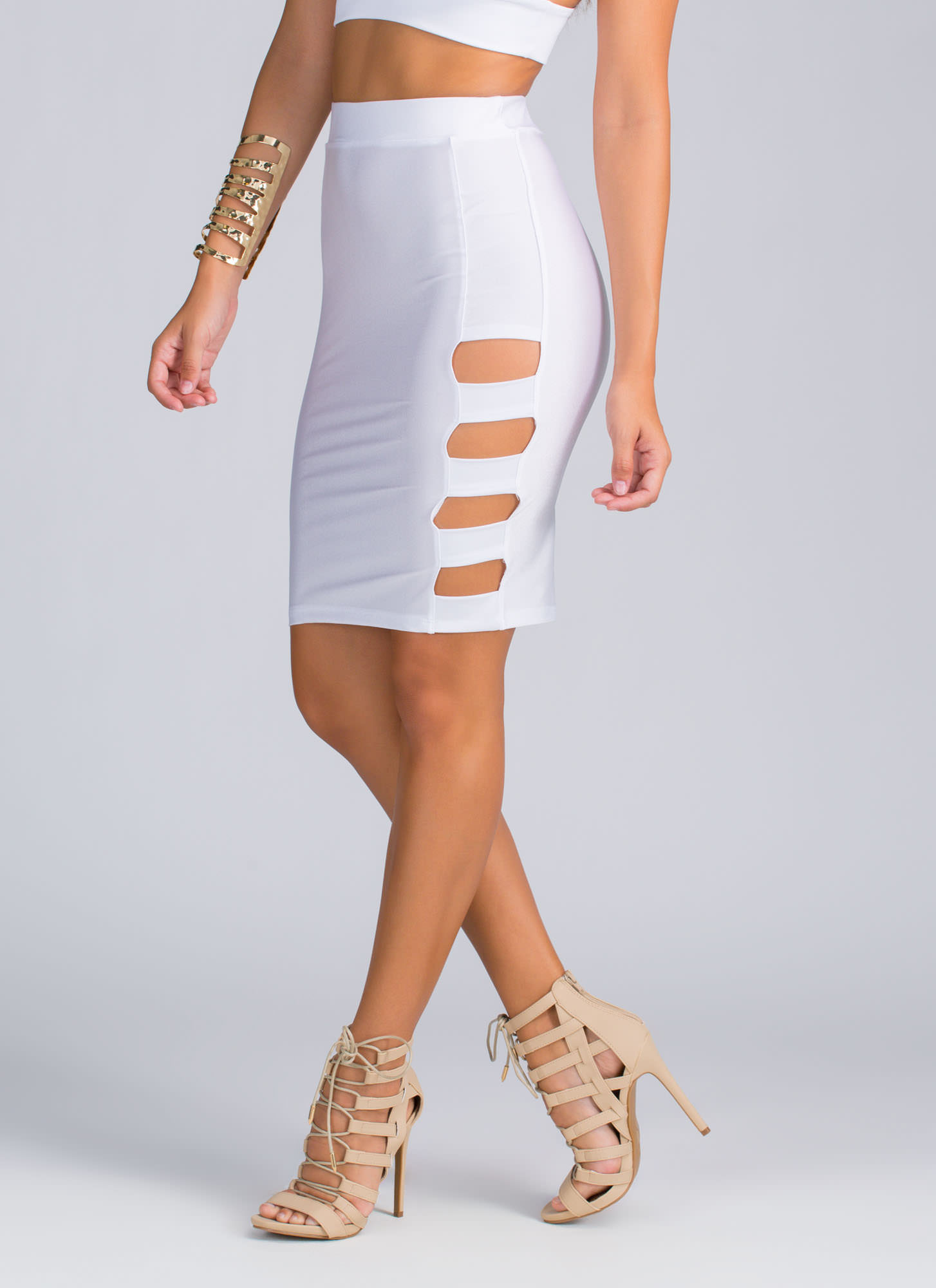 Banded Cut-Out Skirt WHITE