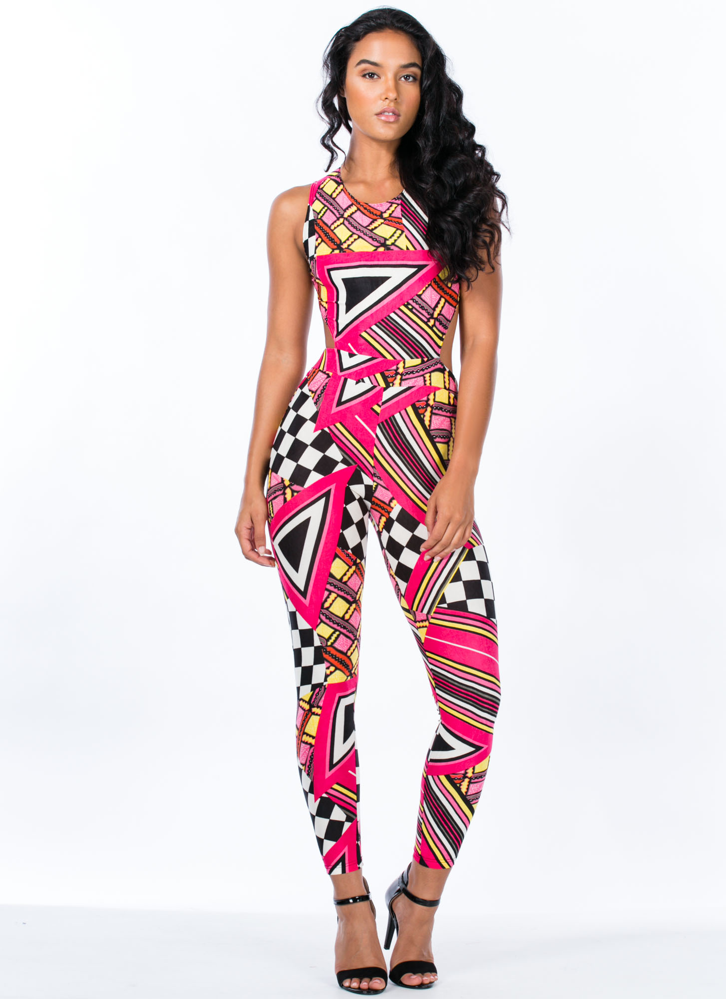 Abstract Geo Print Cut-Out Jumpsuit PINK