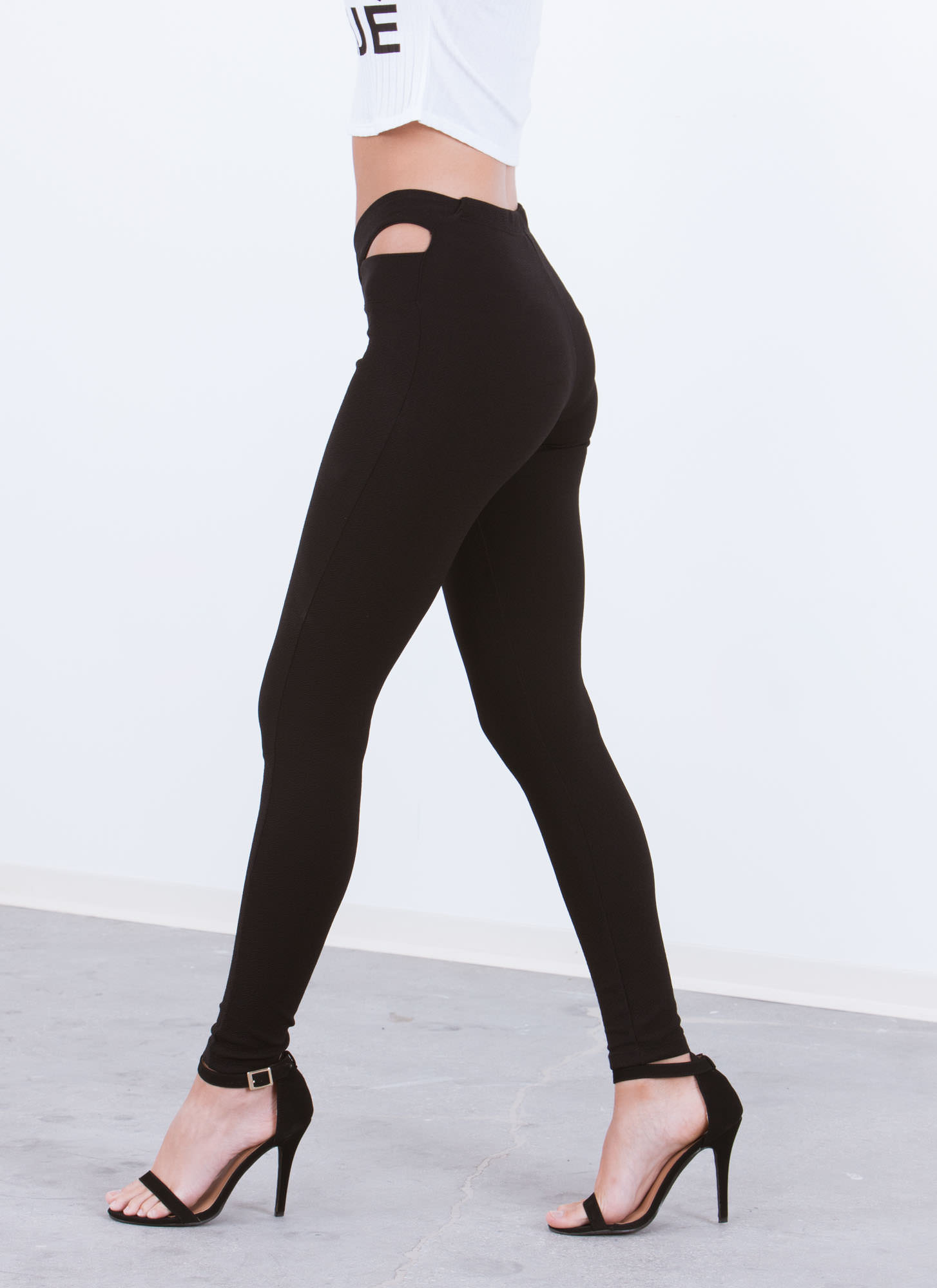 X Band Textured Skinny Pants BLACK