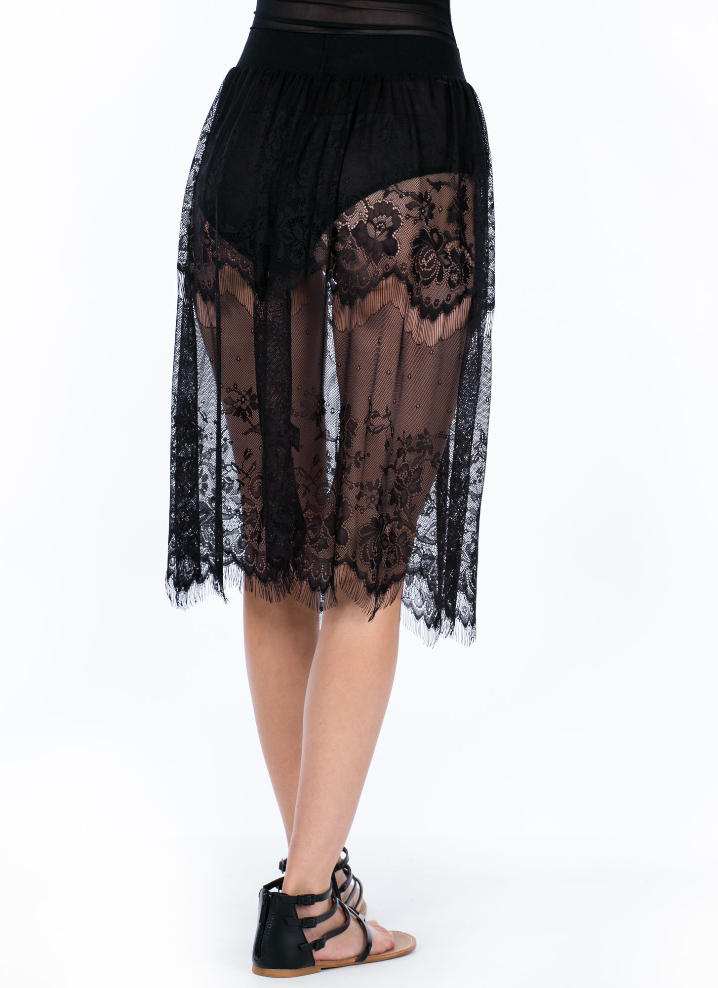 Sheer Perfection Lace Skirt BLACK