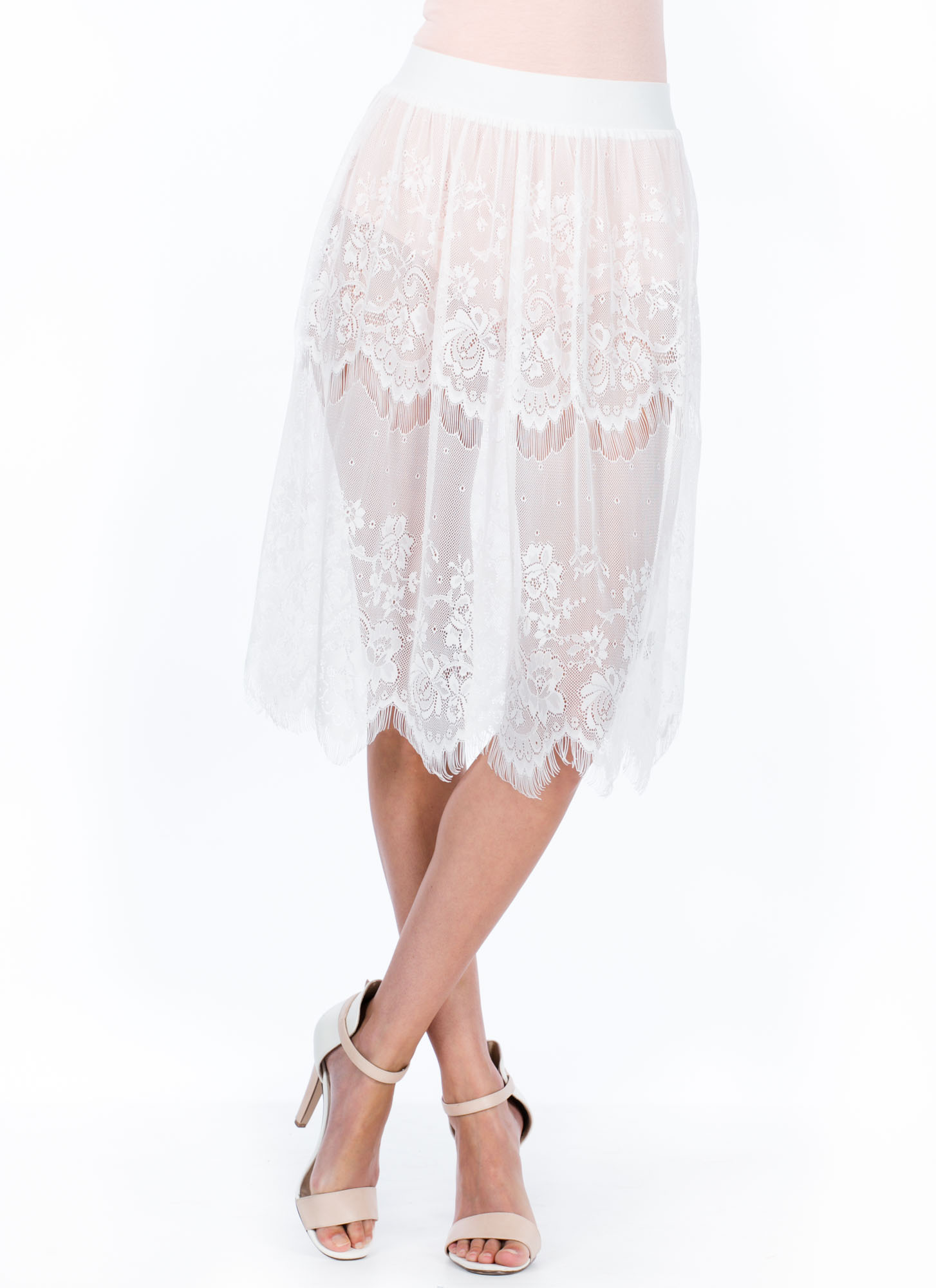 Sheer Perfection Lace Skirt WHITE