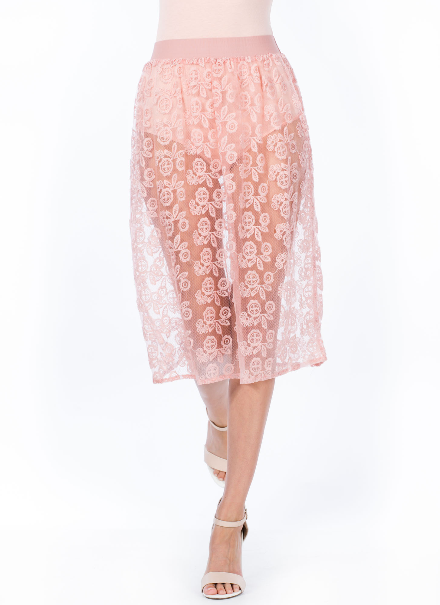Sheer Floral Stitched Skirt ROSE