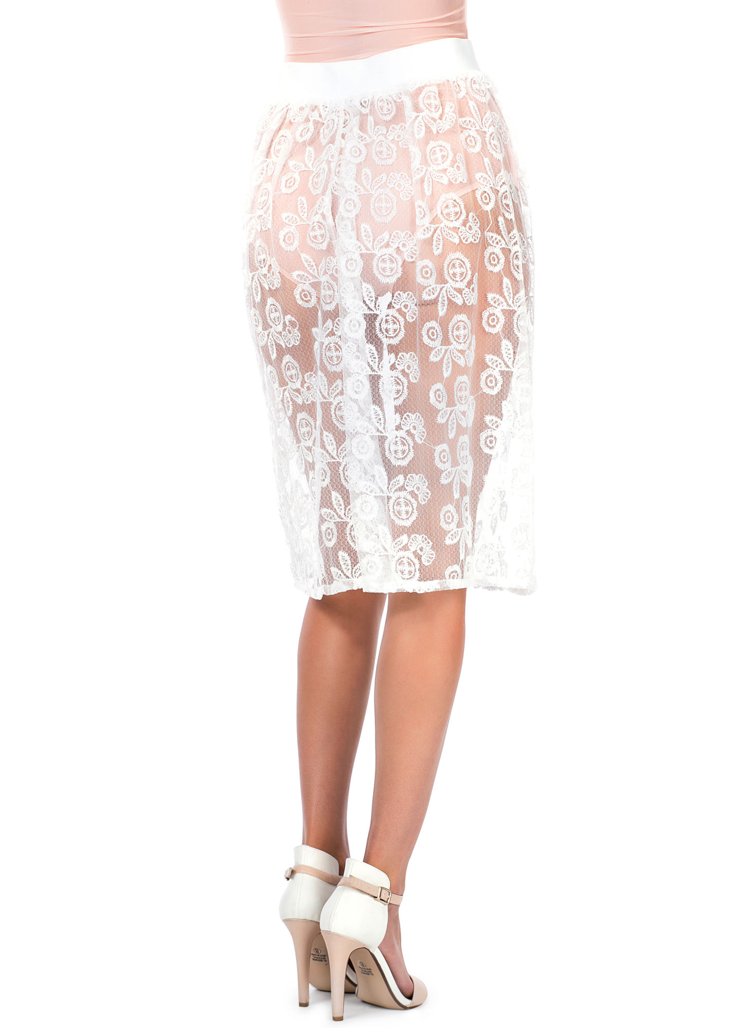 Sheer Floral Stitched Skirt WHITE
