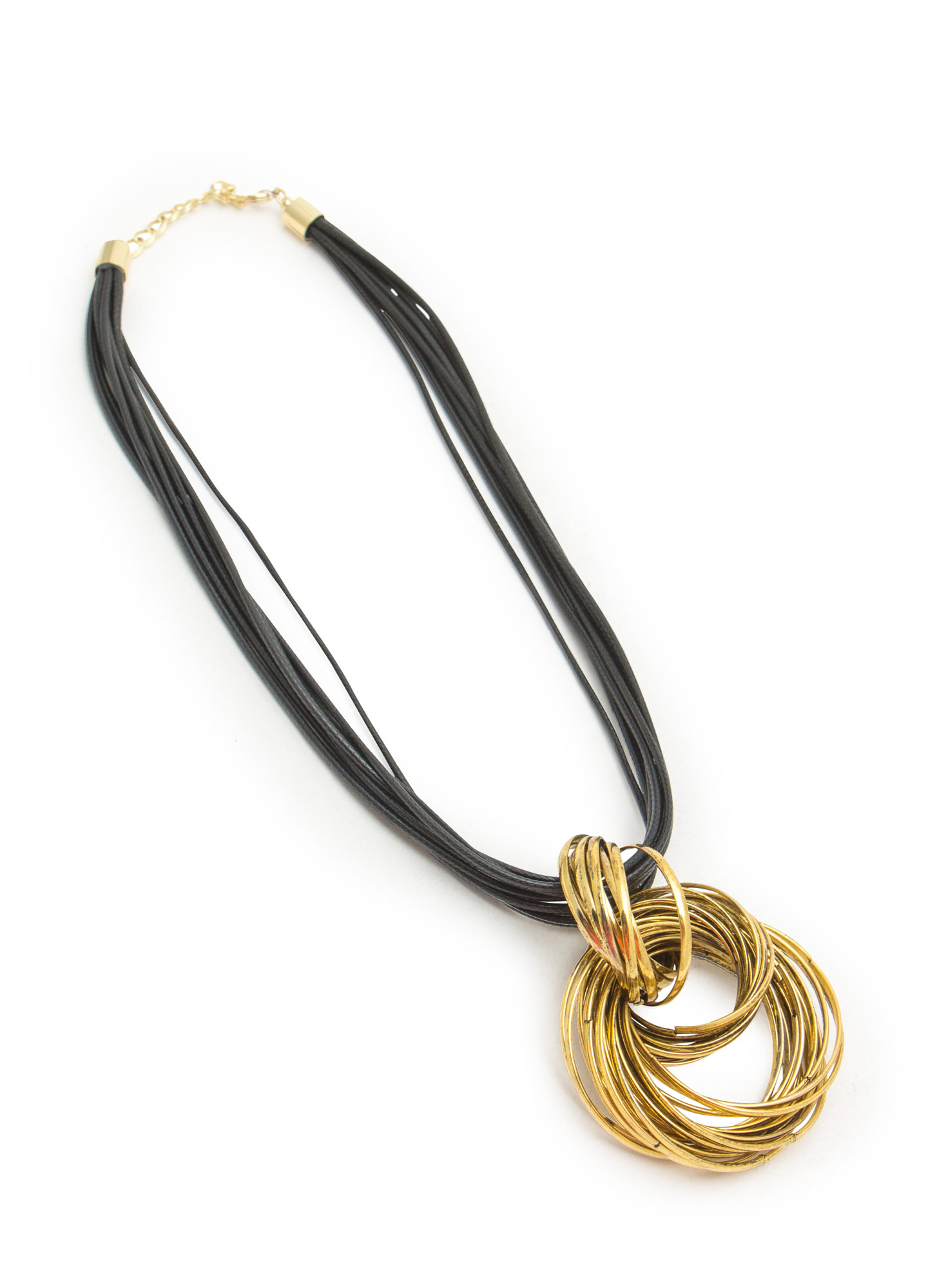 Linked Rings Coated Cord Necklace BLACKDKGOLD