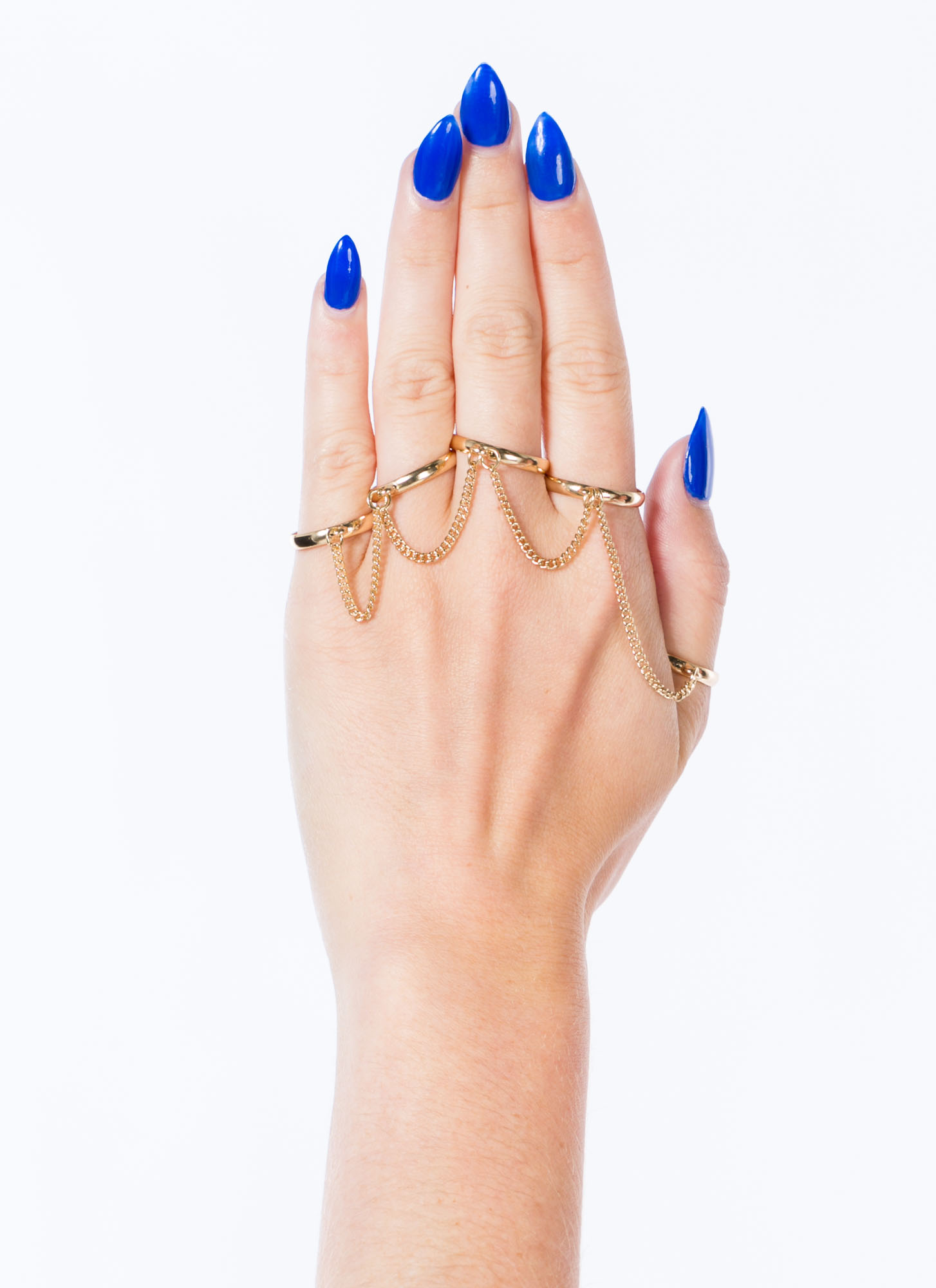 Metal Five-Banded Chained Ring Set GOLD