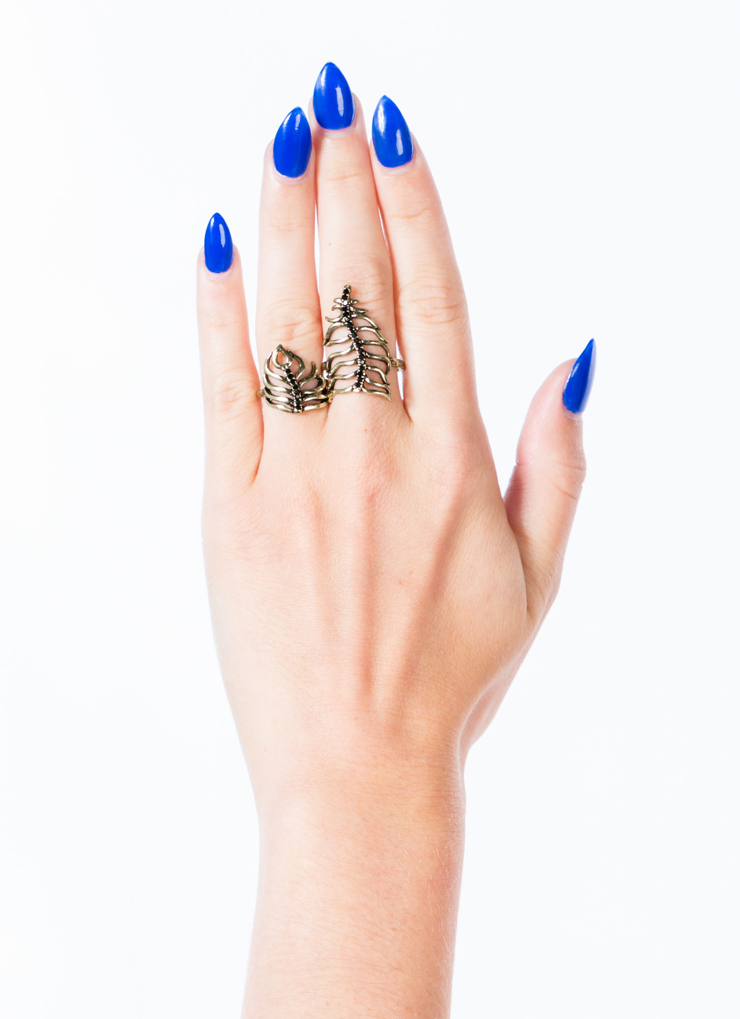 Wavy Palm Fronds Jeweled Ring Duo DKGOLD